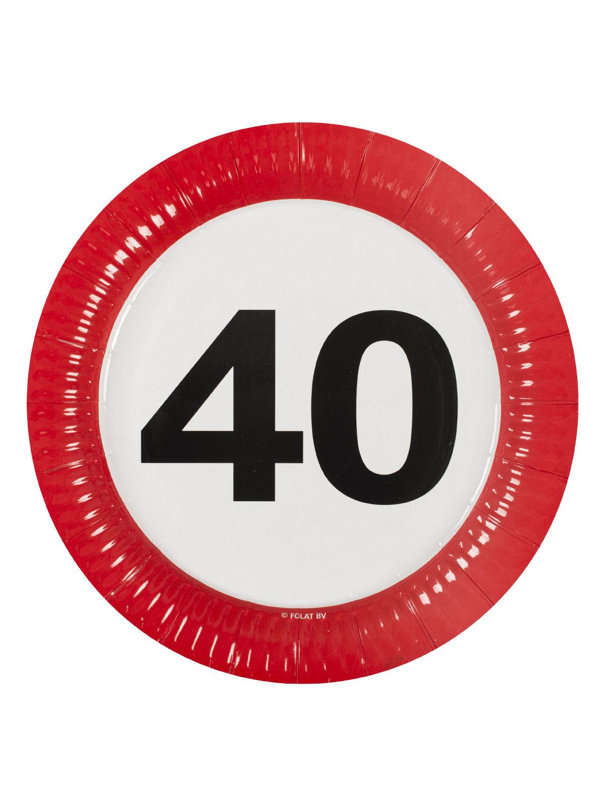 40 Geburtstag Pappteller Party Deko 8 Stuck Bunt 23cm Gunstige