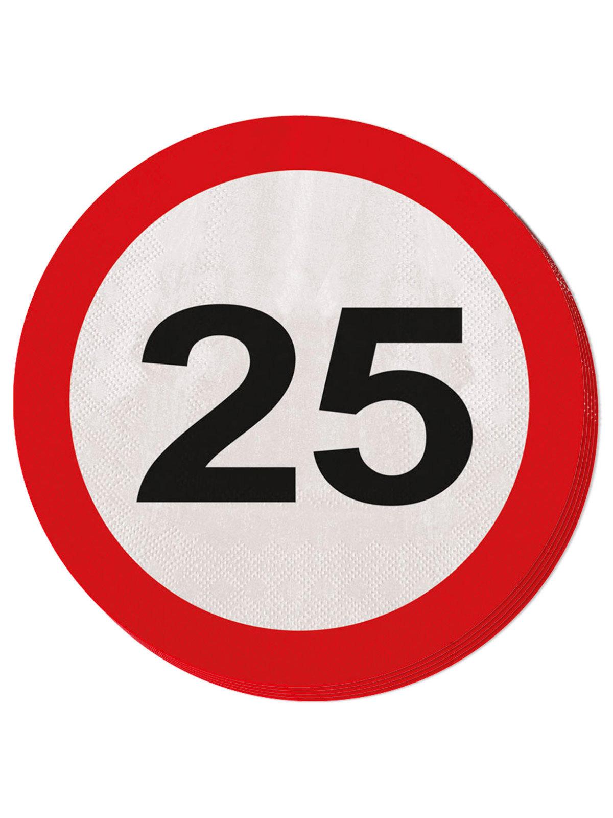 25 Geburtstag Servietten Party Deko 20 Stuck Rot Weiss 25cm