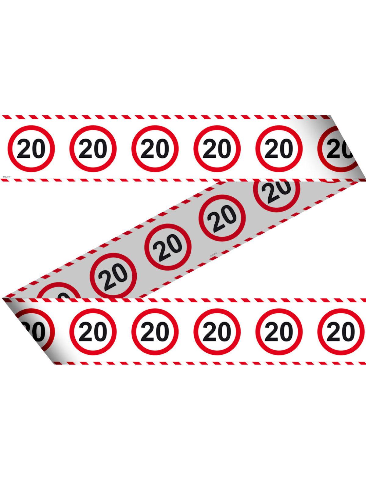 20 Geburtstag Absperrband Party Deko Weiss Rot Schwarz 15mx7 5cm