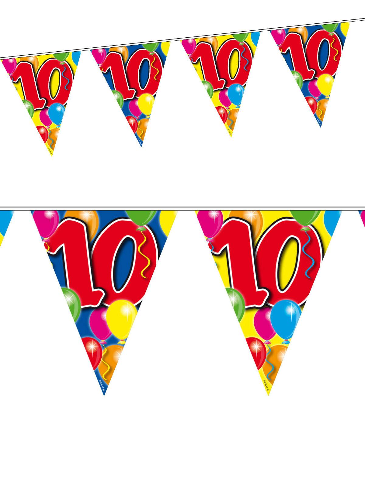 10 Geburtstag Wimpel Girlande Party Deko Bunt 10m Gunstige