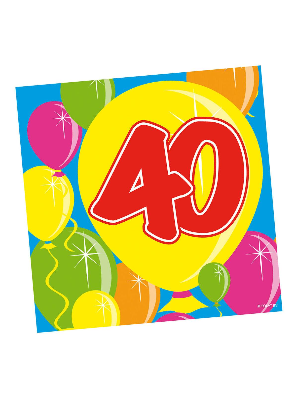 40 Geburtstag Servietten Party Deko Luftballons 20 Stuck Bunt