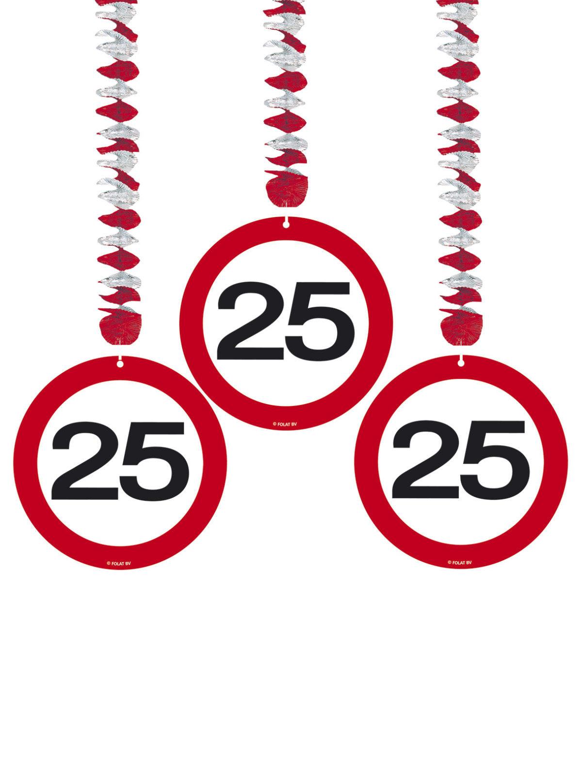 25 Geburtstag Hange Spiralen Party Deko 3 Stuck Rot Weiss 75cm