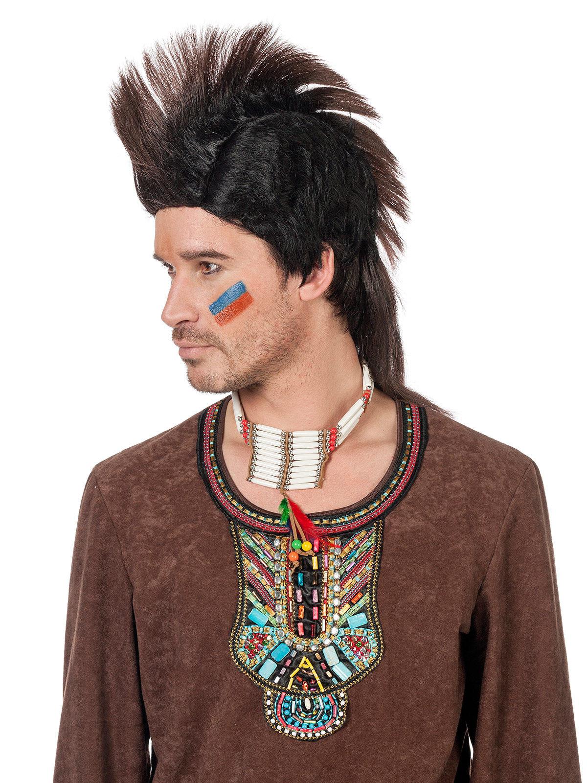 indianer per cke mohawk schwarz braun g nstige faschings accessoires zubeh r bei karneval. Black Bedroom Furniture Sets. Home Design Ideas