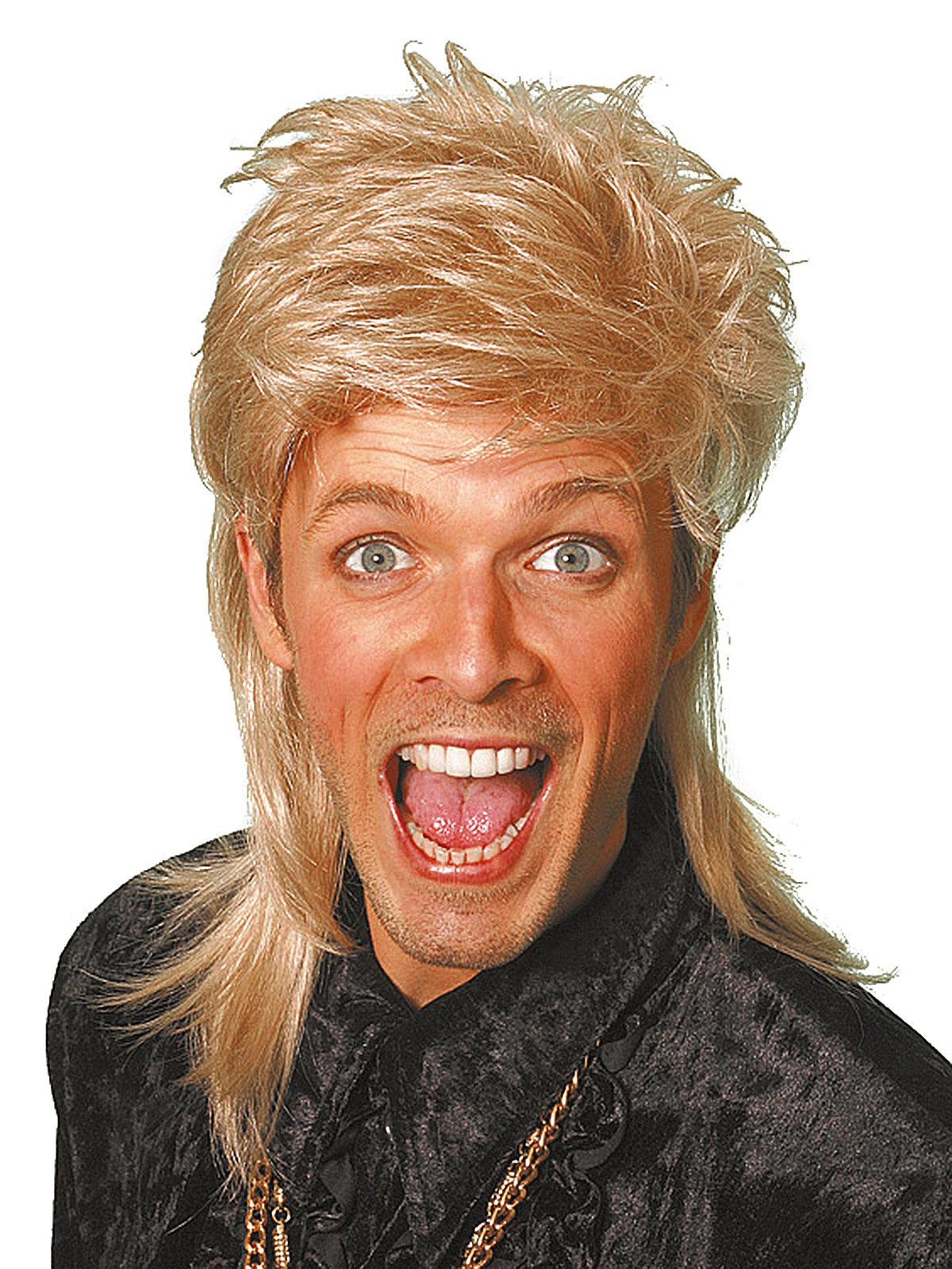 80er Vokuhila Herren Perucke Blond Gunstige Faschings Accessoires
