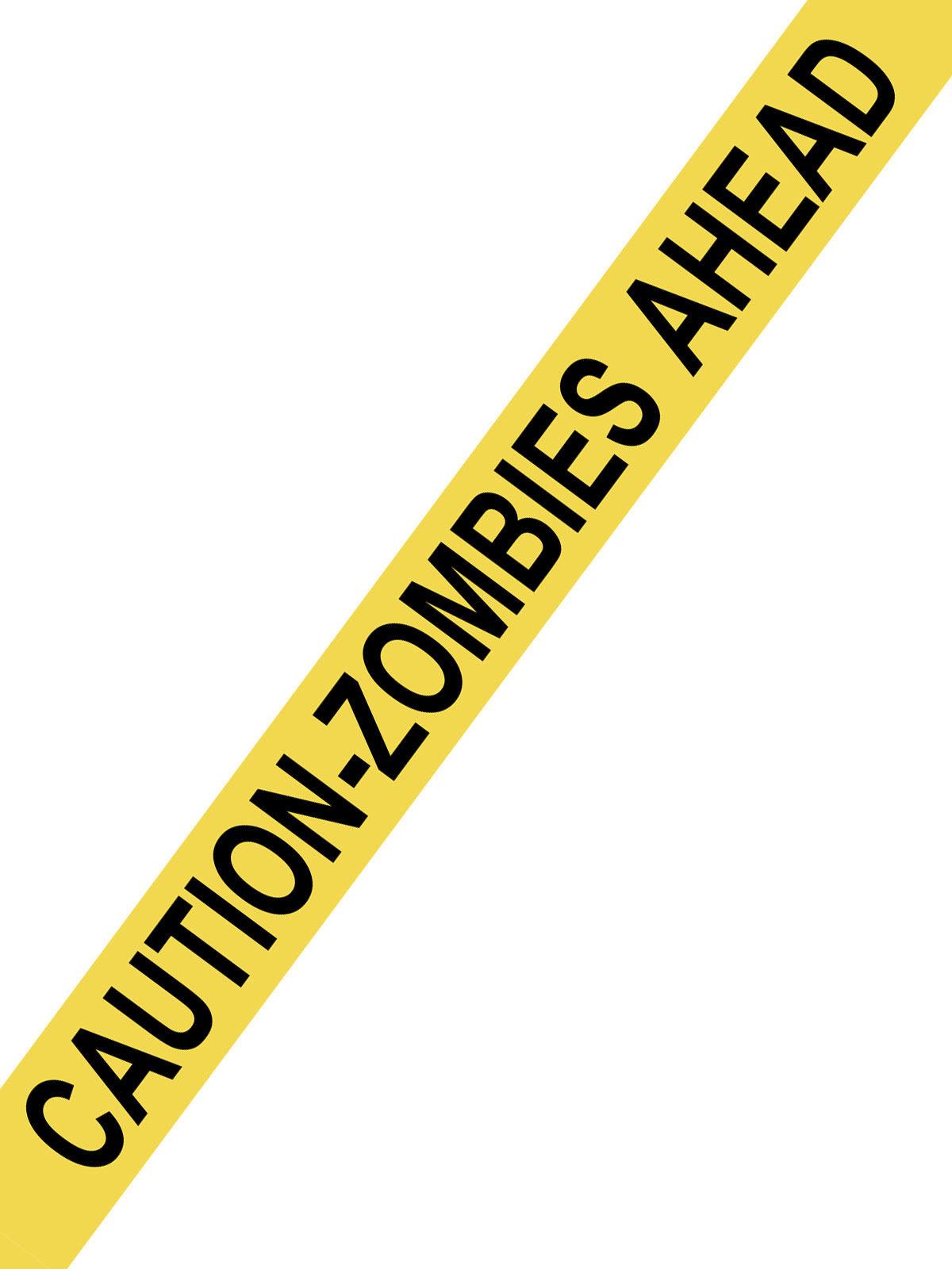 absperrband caution zombies ahead halloween party deko gelb schwarz 1500x8cm g nstige. Black Bedroom Furniture Sets. Home Design Ideas