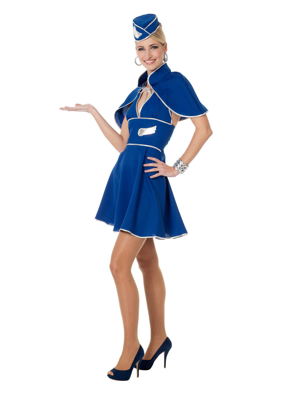 82e1b31893be0 Retro Stewardess Damenkostüm Flugbegleiterin blau-silber , günstige ...