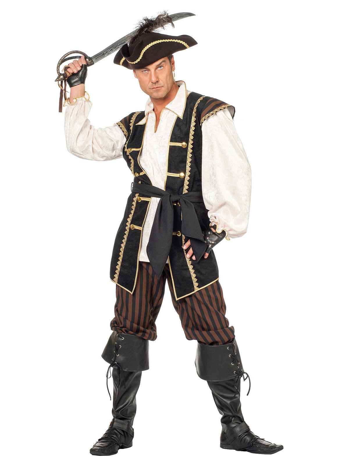eleganter pirat kost m freibeuter creme schwarz braun g nstige faschings kost me bei karneval. Black Bedroom Furniture Sets. Home Design Ideas