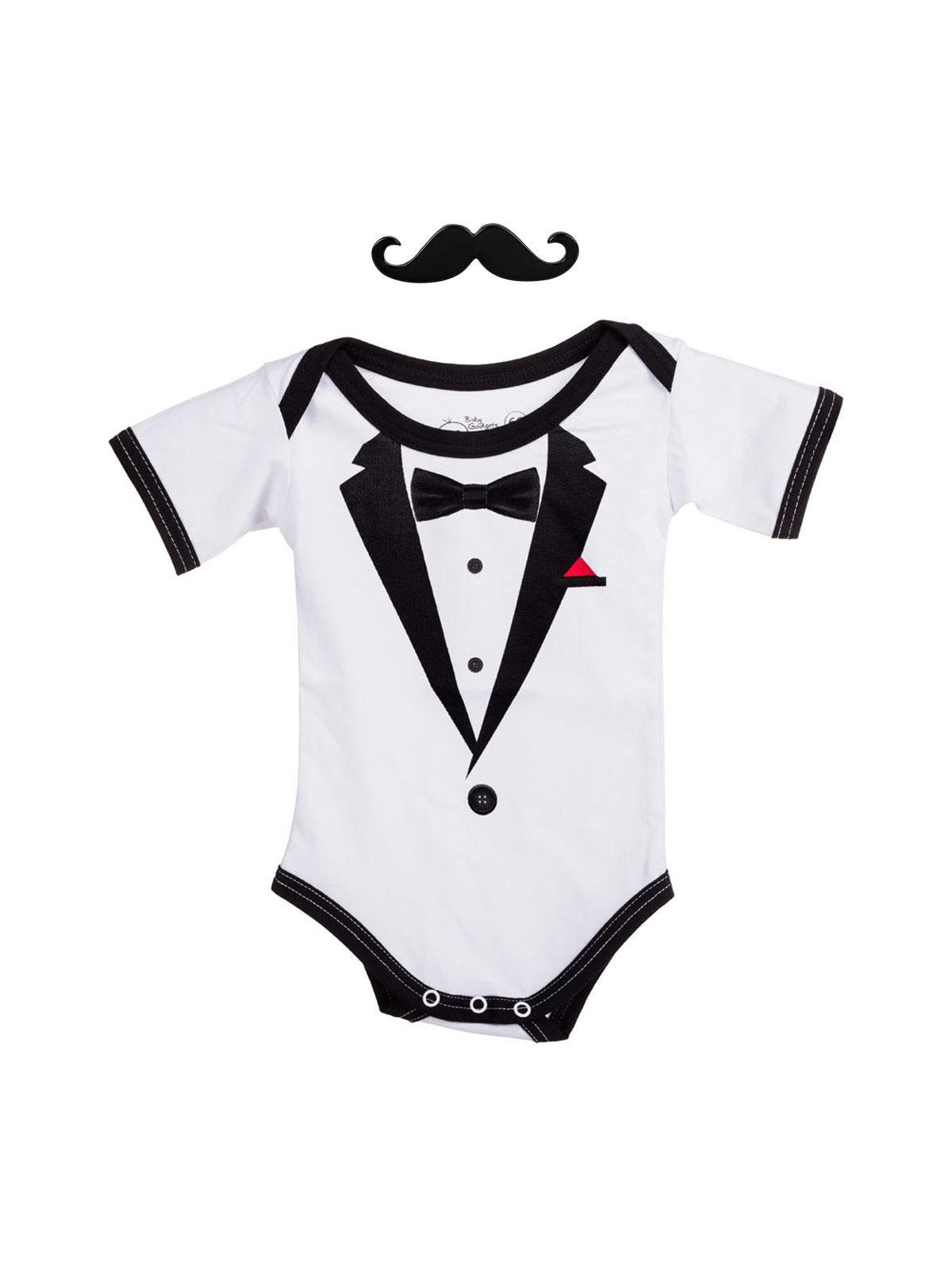Gentleman Strampelanzug Baby Strampler Schwarz Weiss Günstige