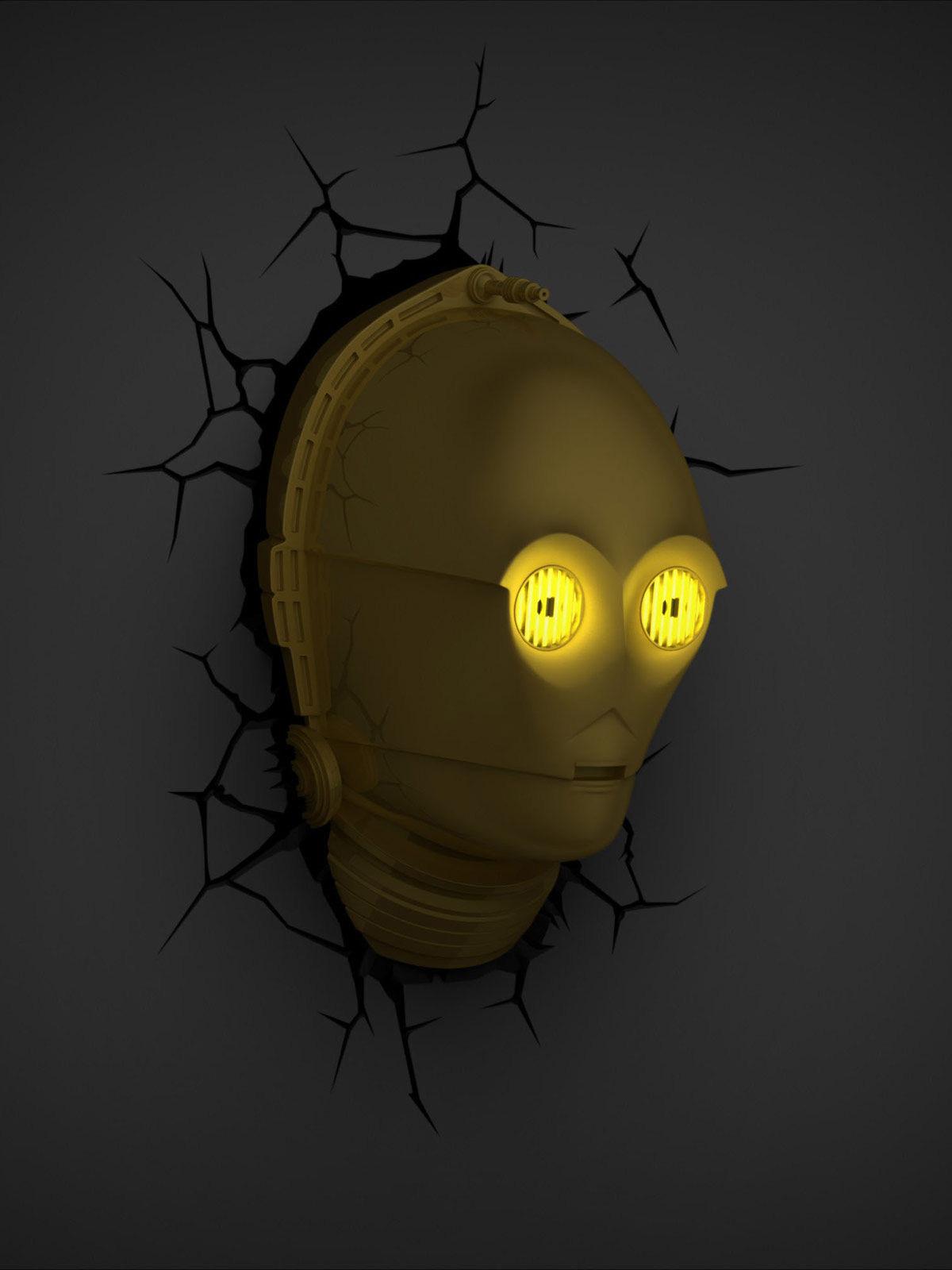 C-3PO-Wandlampe Star Wars Fanartikel gold 32,5x21x14cm