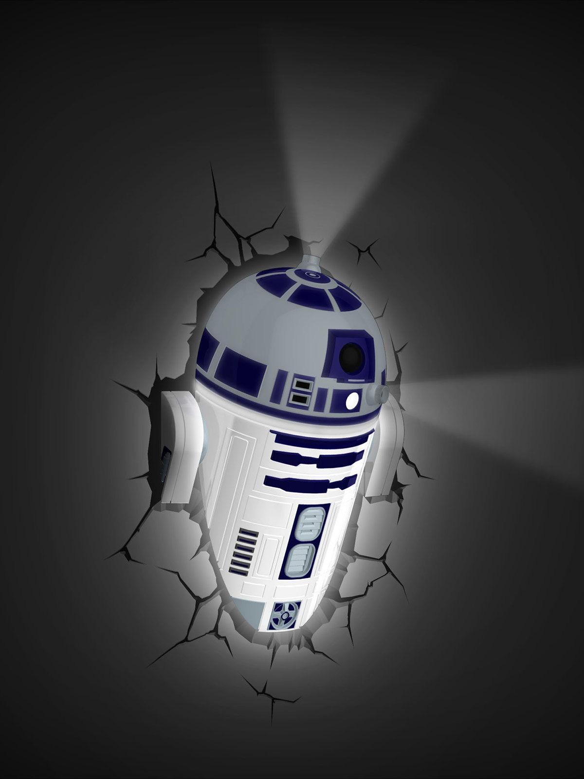 R2-D2™-3D Lampe Star Wars™-Lizenzprodukt weiss-blau 34x26,5x11,5cm ...