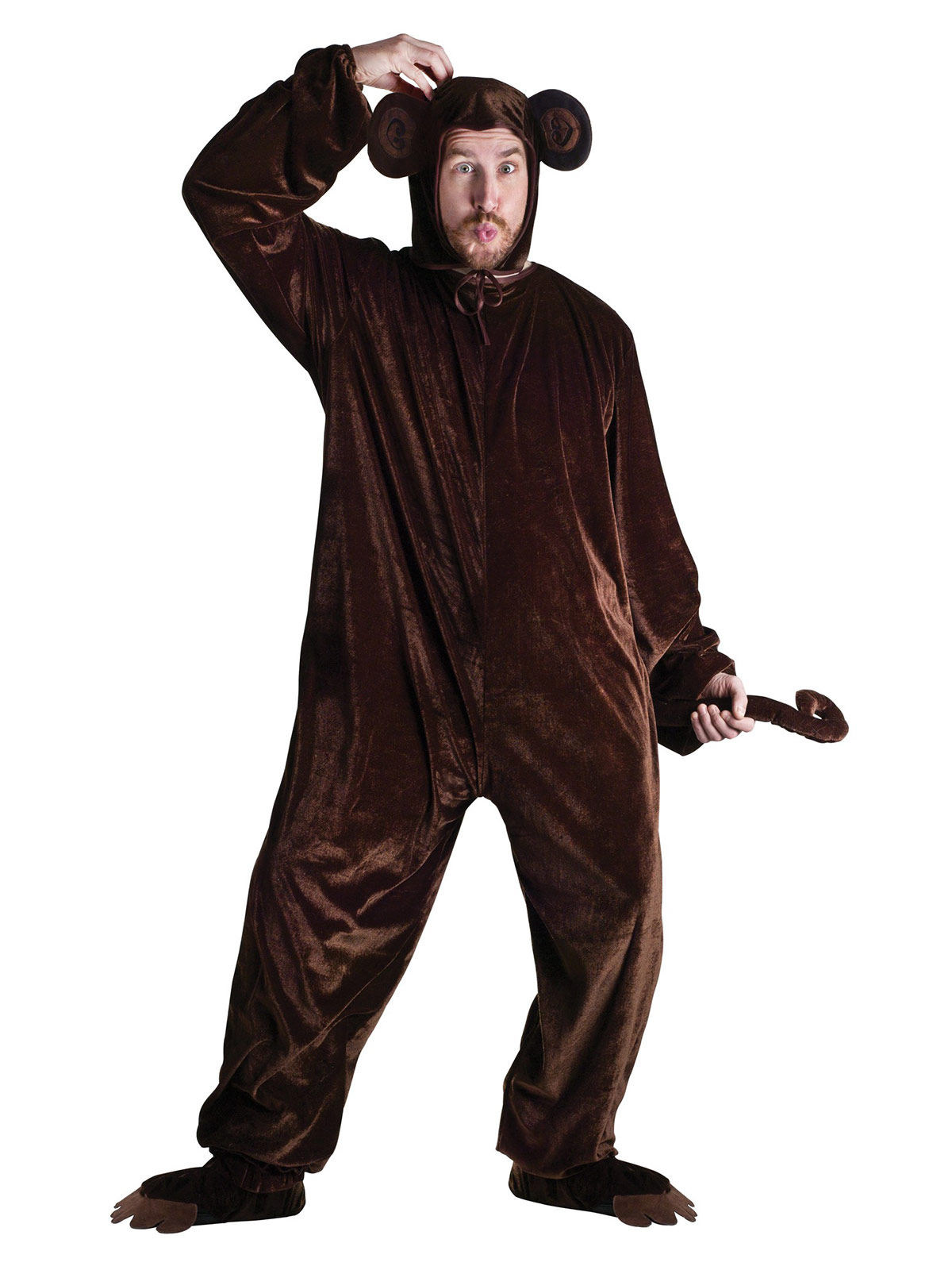 lustiger schimpanse jumpsuit kost m unisex dunkelbraun. Black Bedroom Furniture Sets. Home Design Ideas