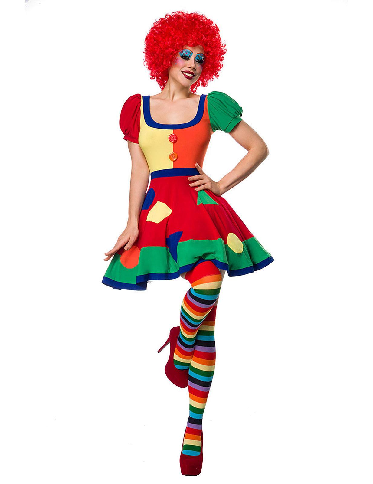 s sse clownfrau damenkost m mit per cke zirkus bunt. Black Bedroom Furniture Sets. Home Design Ideas