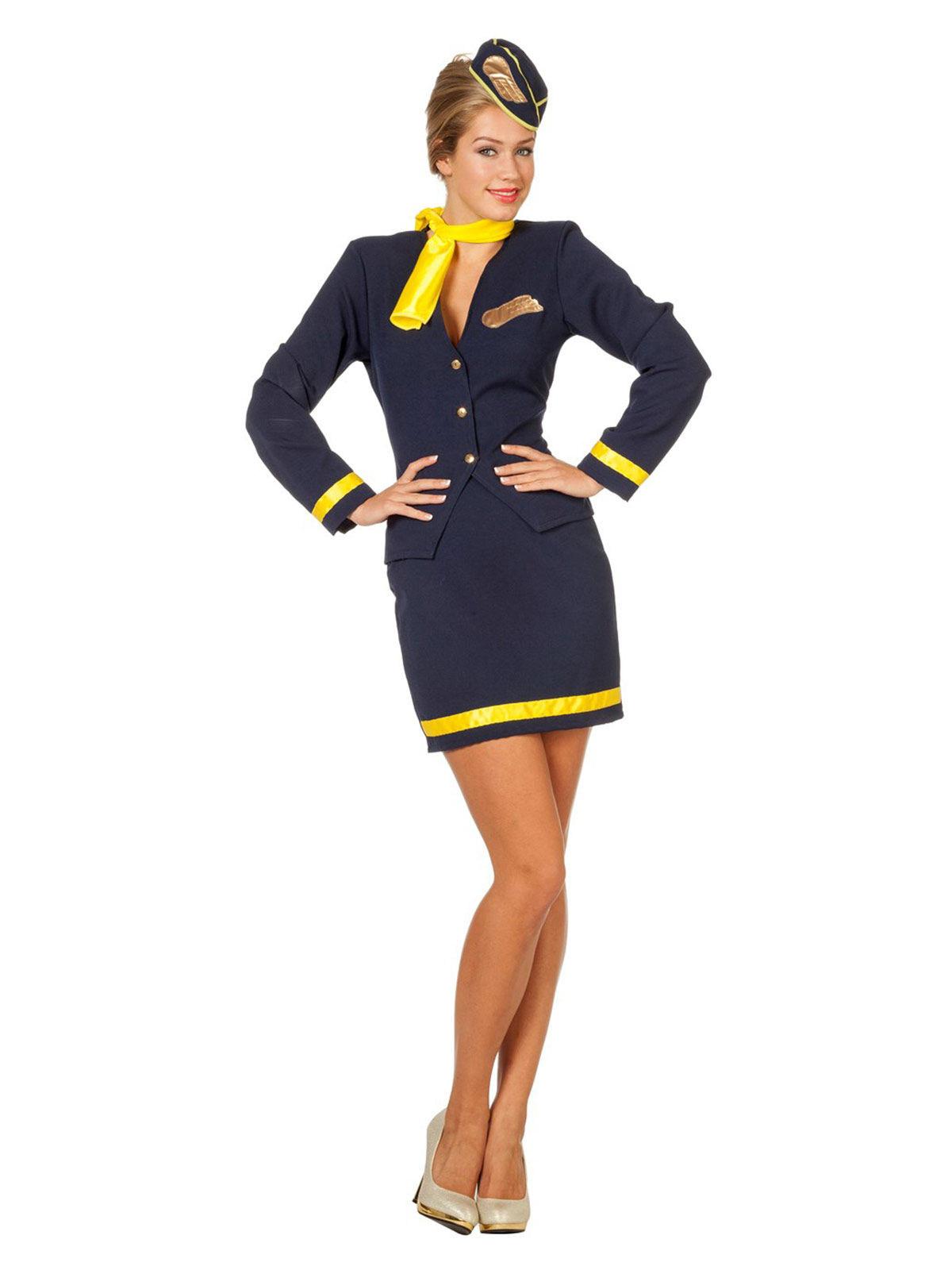 1556db0880224 Sexy Retro Stewardess Damenkostüm dunkelblau-gelb , günstige ...