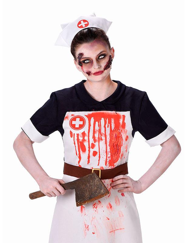 Horror Krankenschwester Halloween Damenkostum Schwarz Rot Weiss