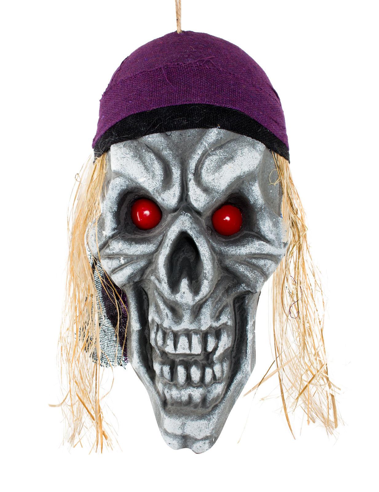 Piraten totensch del halloween deko totenkopf grau lila for Wohnzimmer deko rot grau