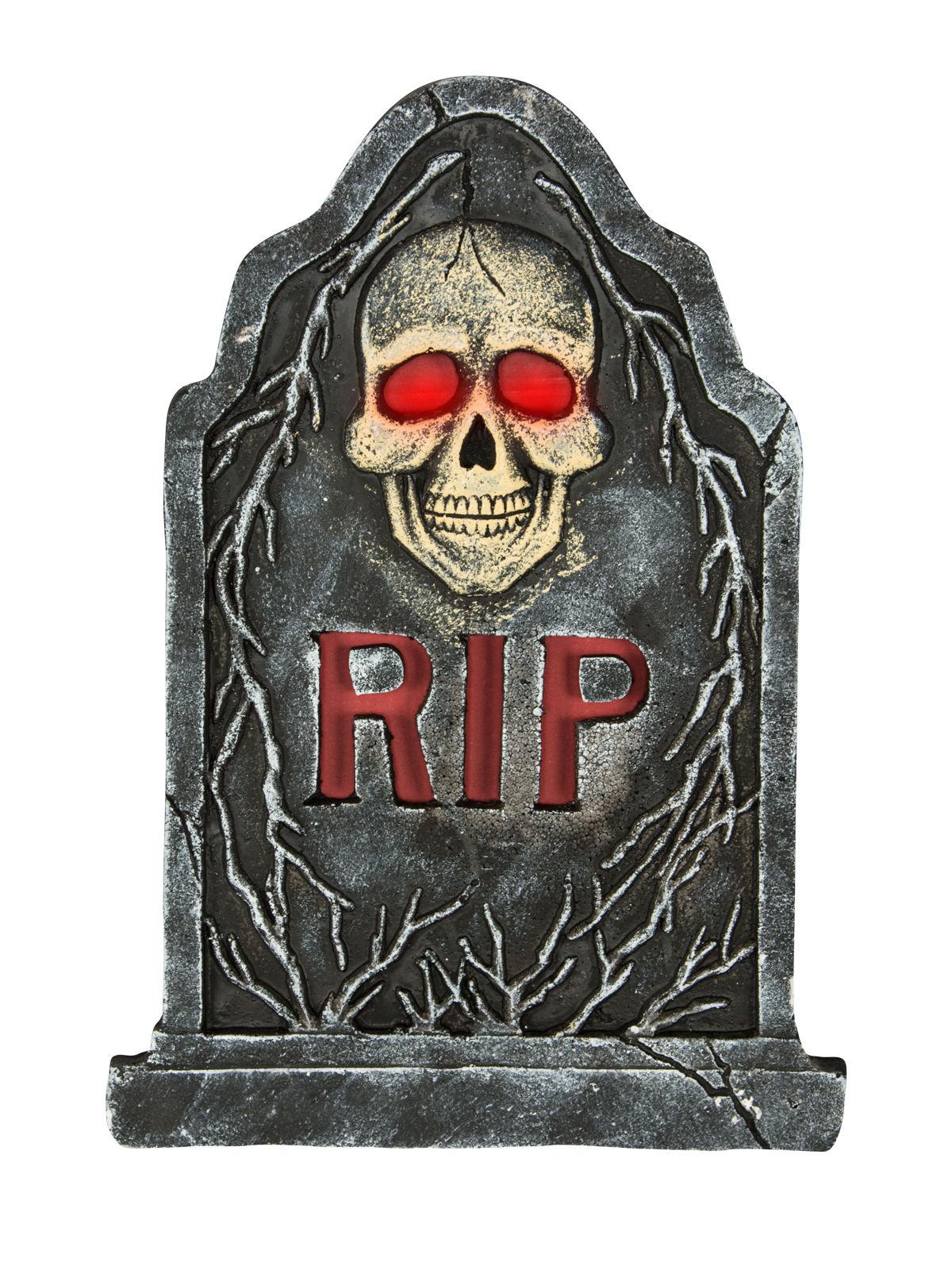 skelett grabstein mit leuchtaugen halloween deko grau. Black Bedroom Furniture Sets. Home Design Ideas