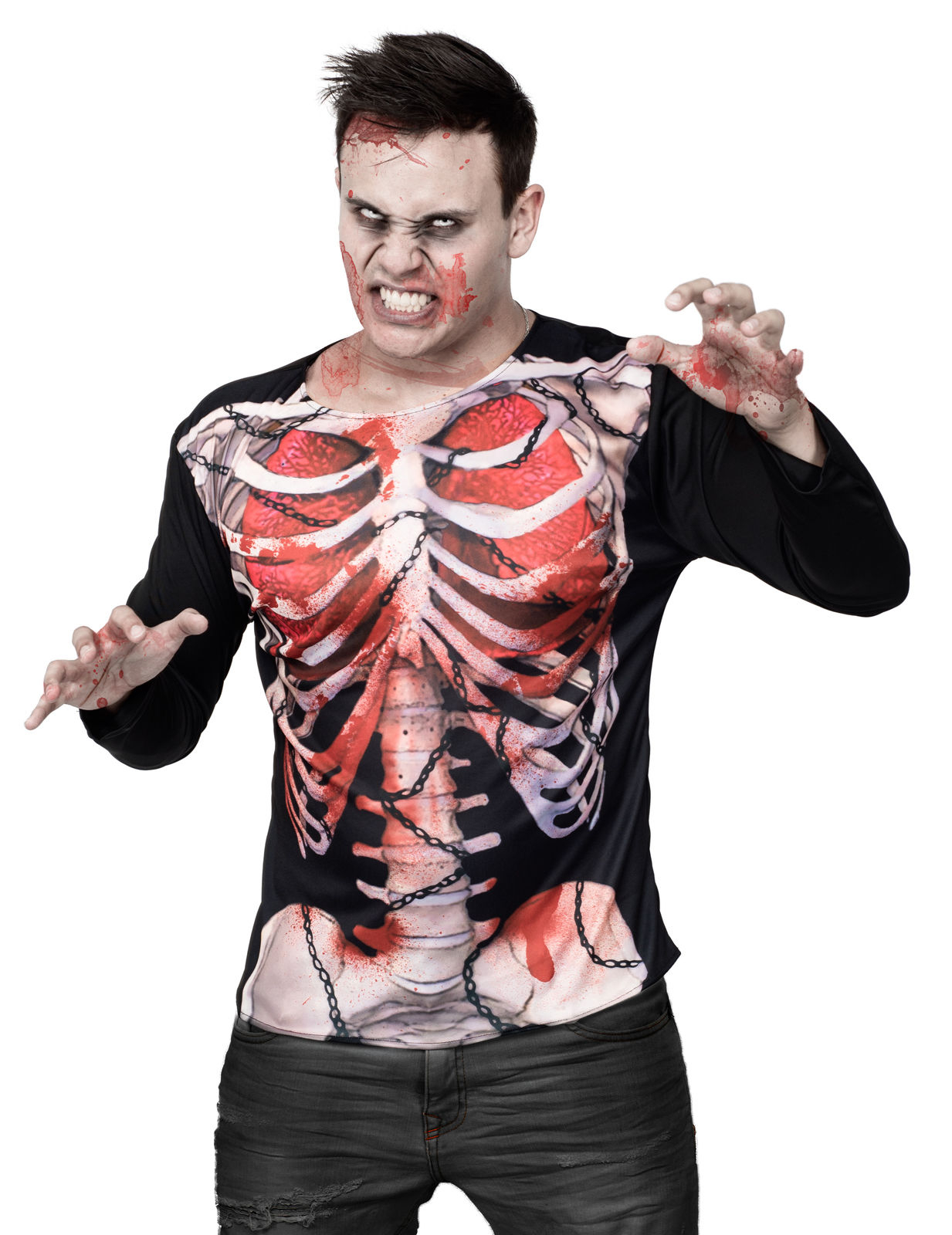 zombie skelett halloween shirt schwarz weiss rot g nstige faschings kost me bei karneval megastore. Black Bedroom Furniture Sets. Home Design Ideas