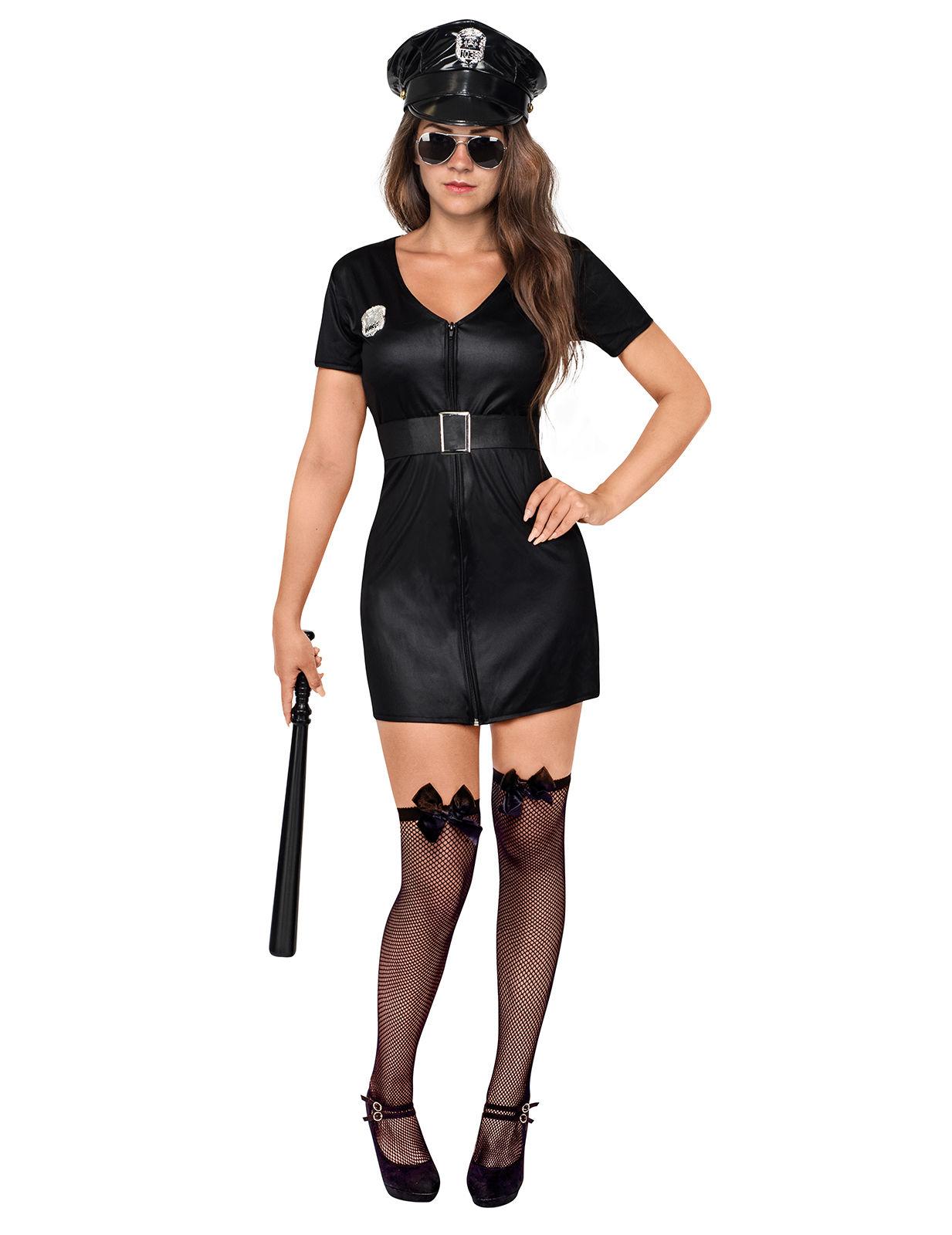 Sexy Polizistin Damenkostum Cop Schwarz Gunstige Faschings Kostume
