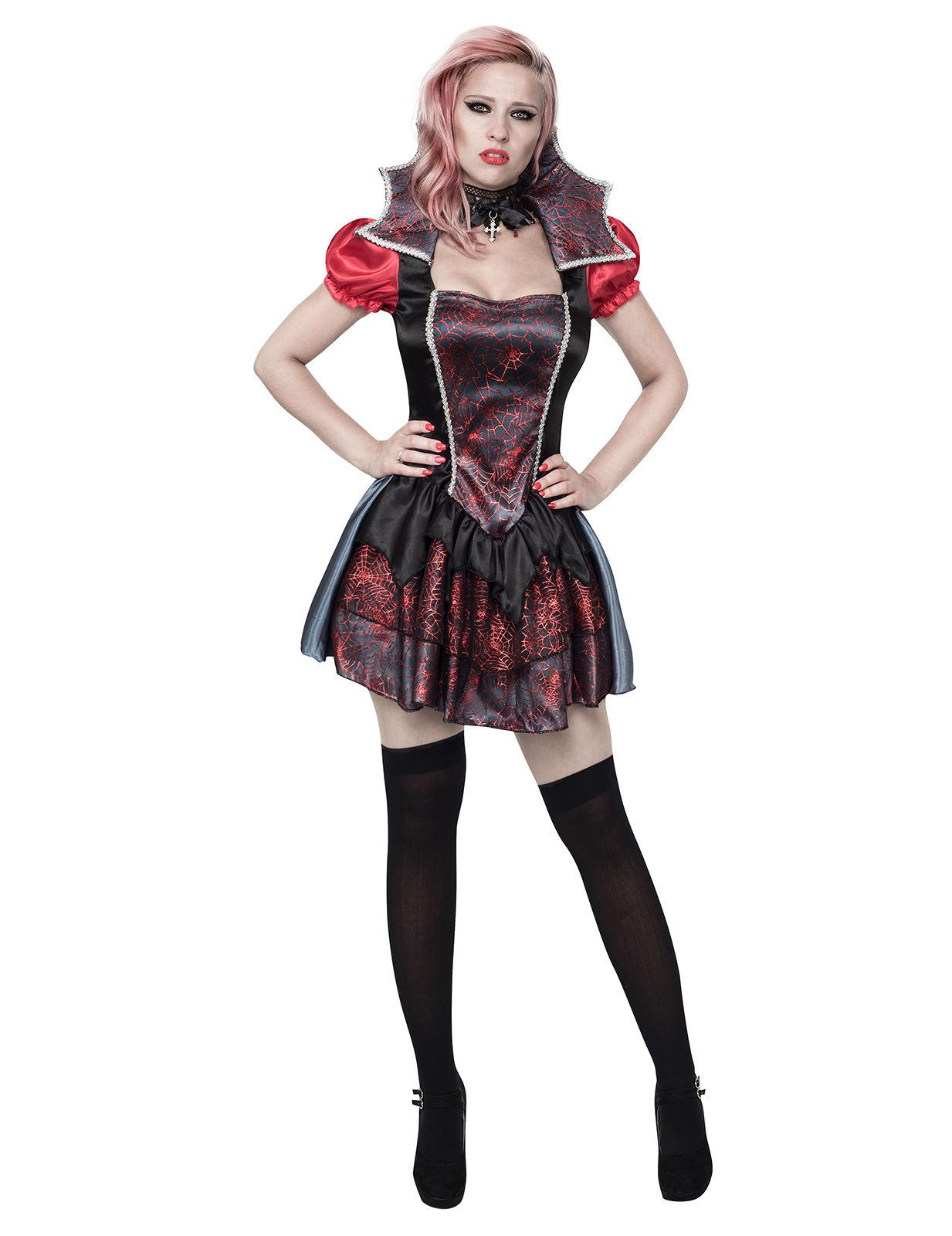 echte Schuhe viel rabatt genießen bieten viel Sexy Barock-Vampirin Halloween-Damenkostüm Spinnen silber-schwarz-rot