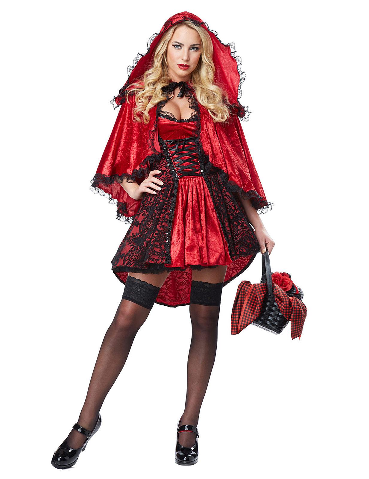 Elegantes Rotkappchen Damenkostum Marchen Deluxe Rot Schwarz