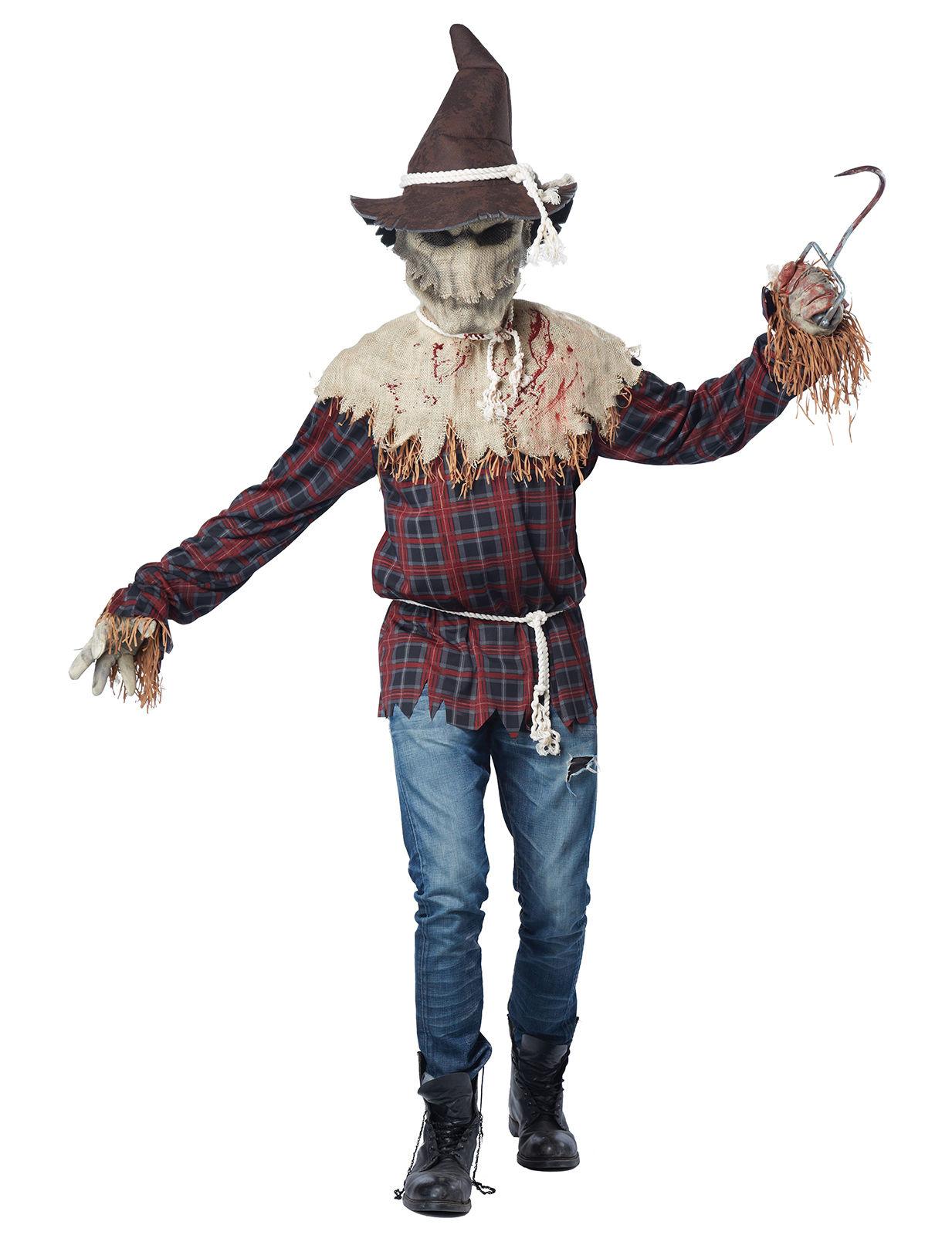 Horror Vogelscheuche Halloweenkostüm Braun Rot Günstige Faschings