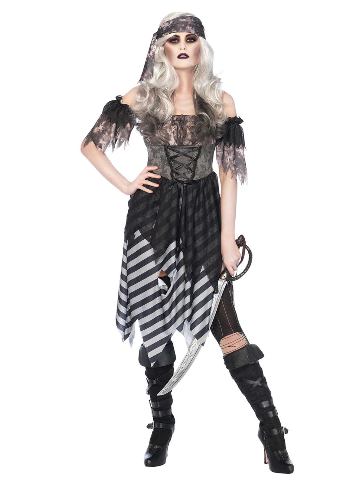 geister piratin halloween damenkost m schwarz grau g nstige faschings kost me bei karneval. Black Bedroom Furniture Sets. Home Design Ideas