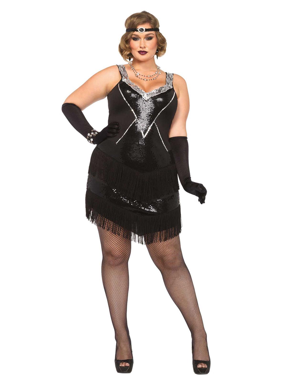 20er Jahre Flapper Plus Size Damenkostum Charleston Schwarz Silber