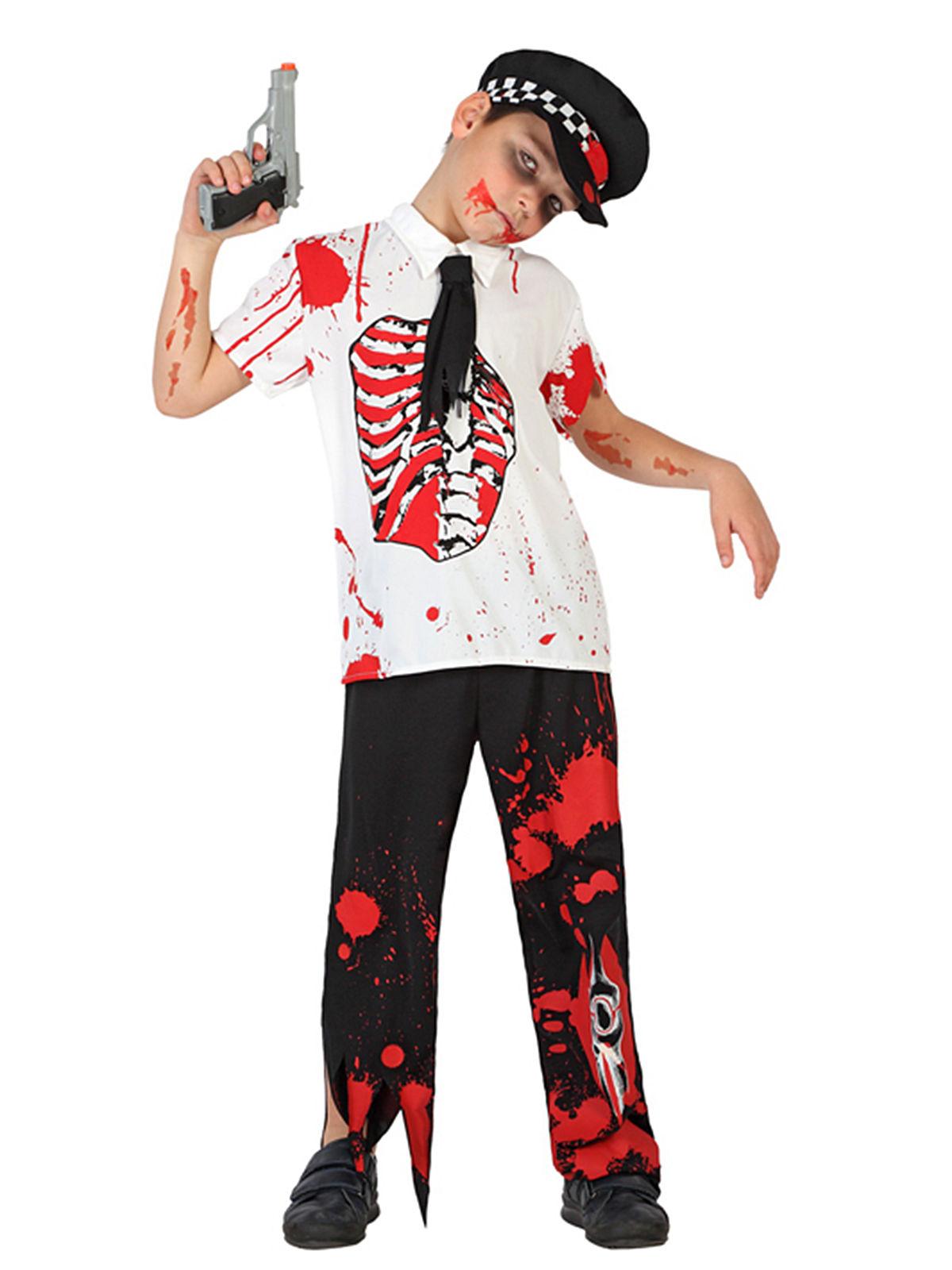 Zombie Polizist Halloween Kinderkostum Schwarz Weiss Rot Gunstige