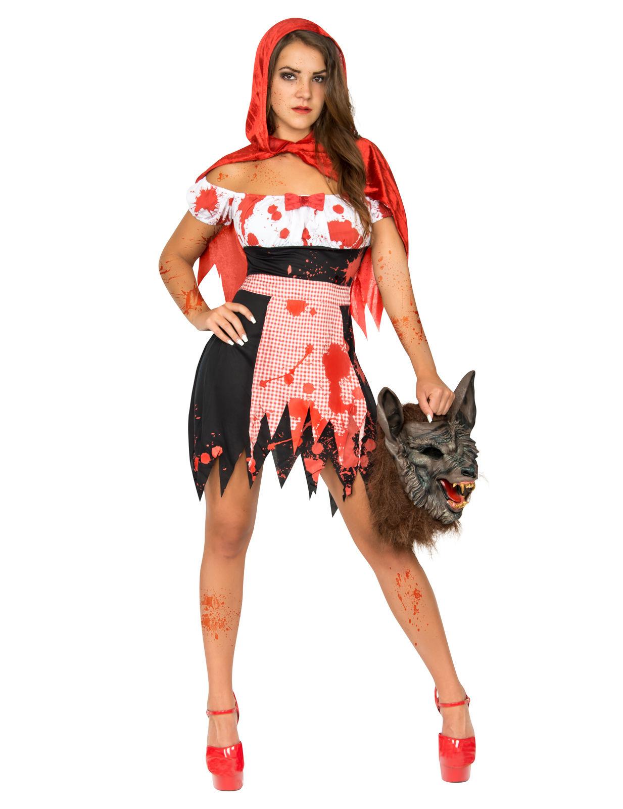 ef3cfd1159baa1 Zombie-Rotkäppchen Halloween-Damenkostüm rot-weiss-schwarz