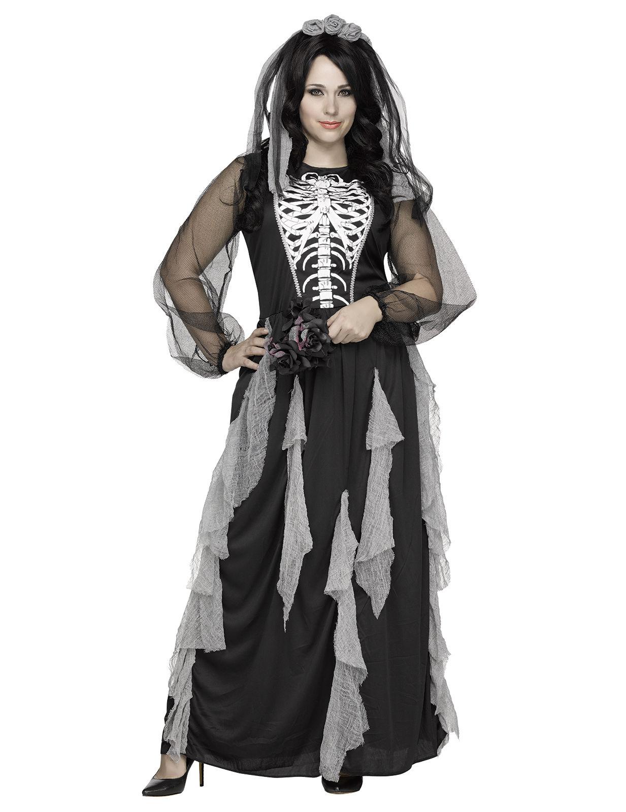 Skelett-Braut Plus Size Halloween-Damenkostüm schwarz-weiss