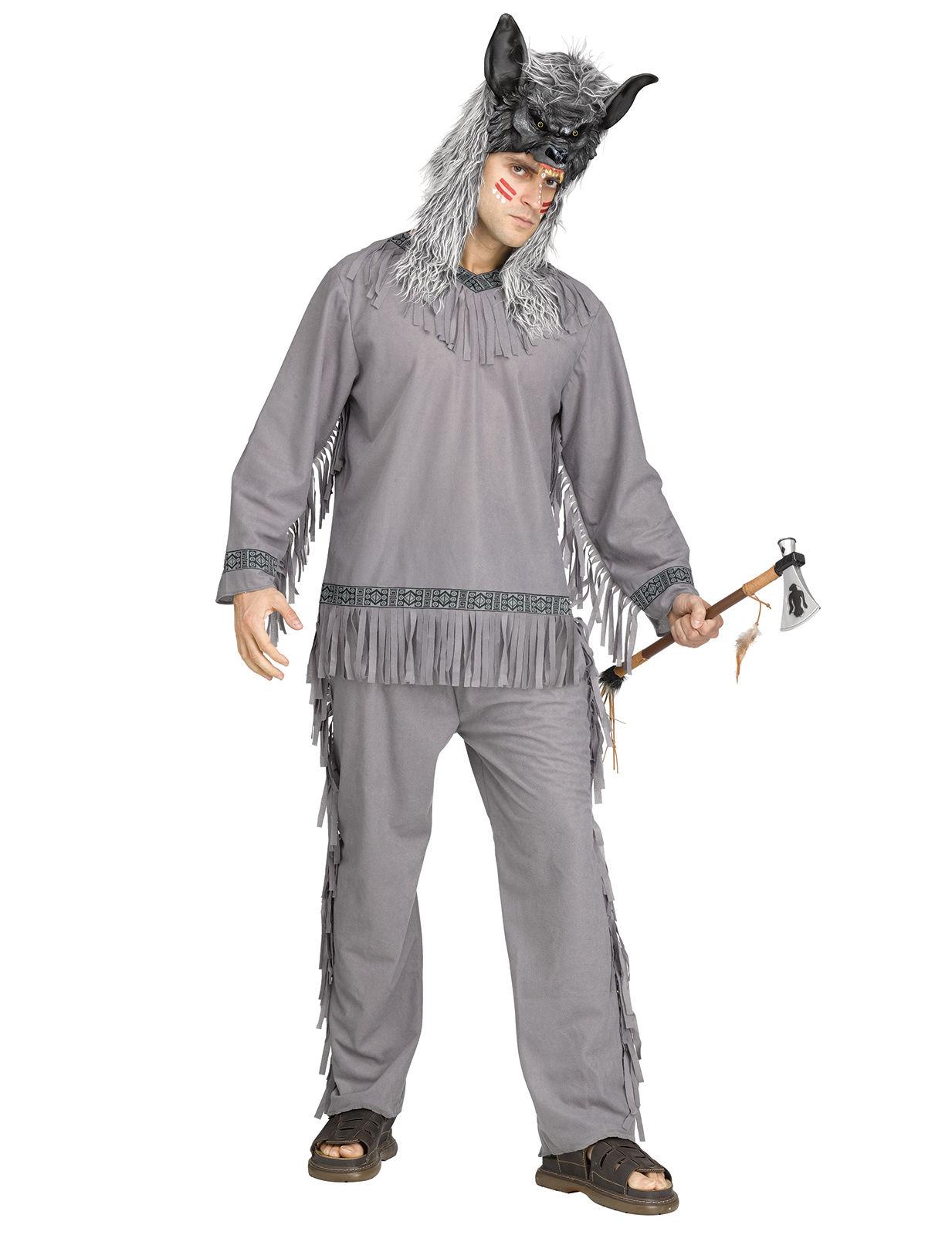 Wolf Jager Indianer Kostum Western Grau Gunstige Faschings Kostume