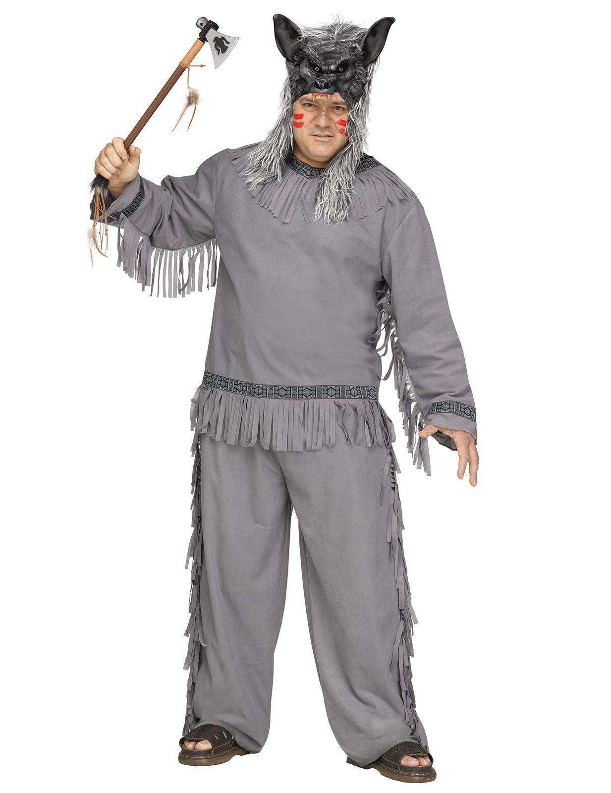 wolf j ger indianer plus size kost m western grau g nstige faschings kost me bei karneval. Black Bedroom Furniture Sets. Home Design Ideas