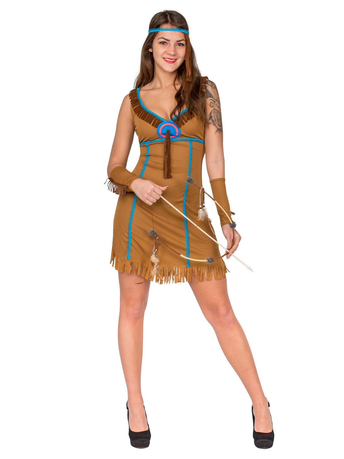 Sexy Indianerin Damenkostum Wilder Westen Braun Gunstige Faschings