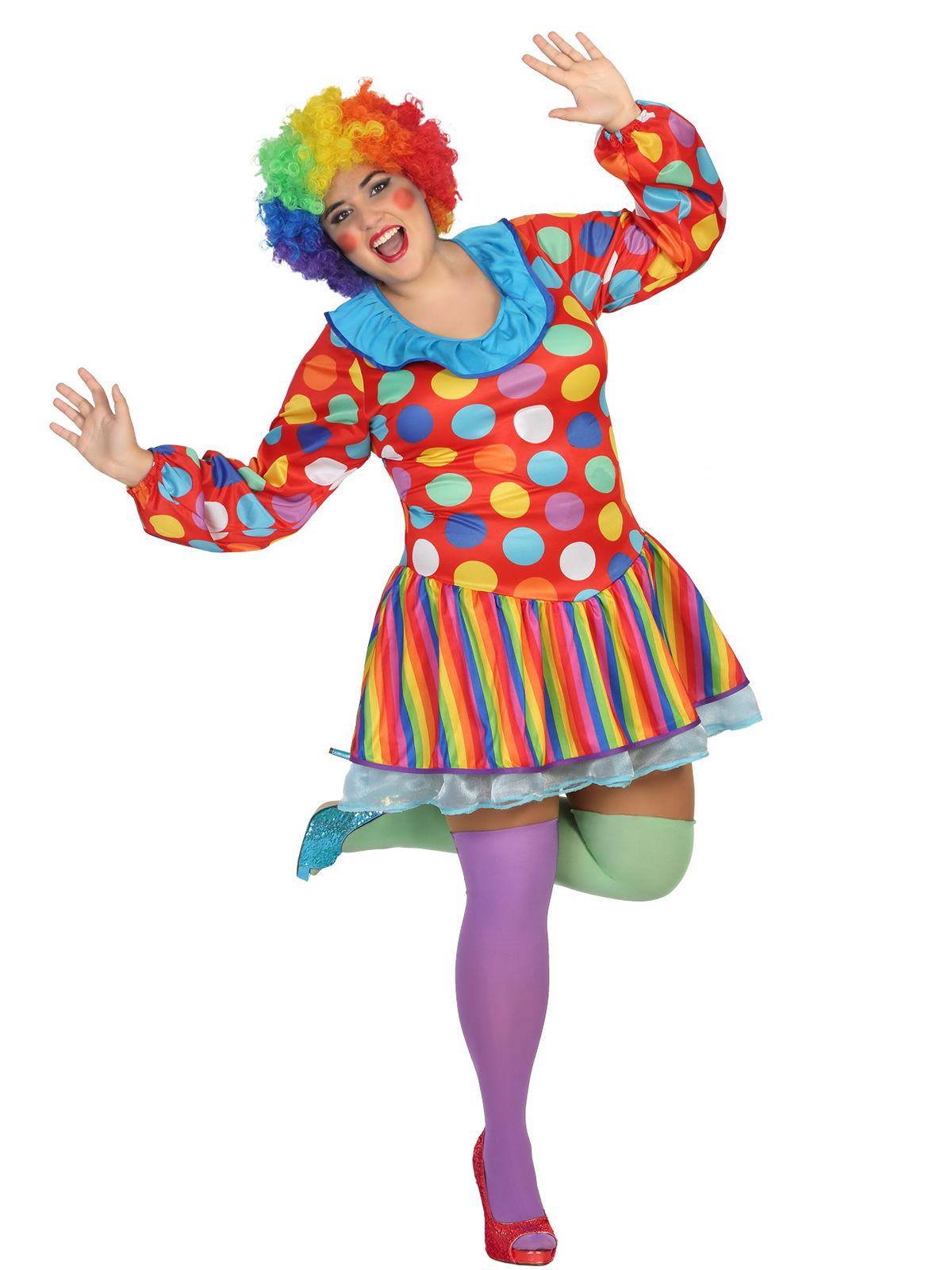 lustige clownfrau zirkus damenkost m plus size bunt g nstige faschings kost me bei karneval. Black Bedroom Furniture Sets. Home Design Ideas