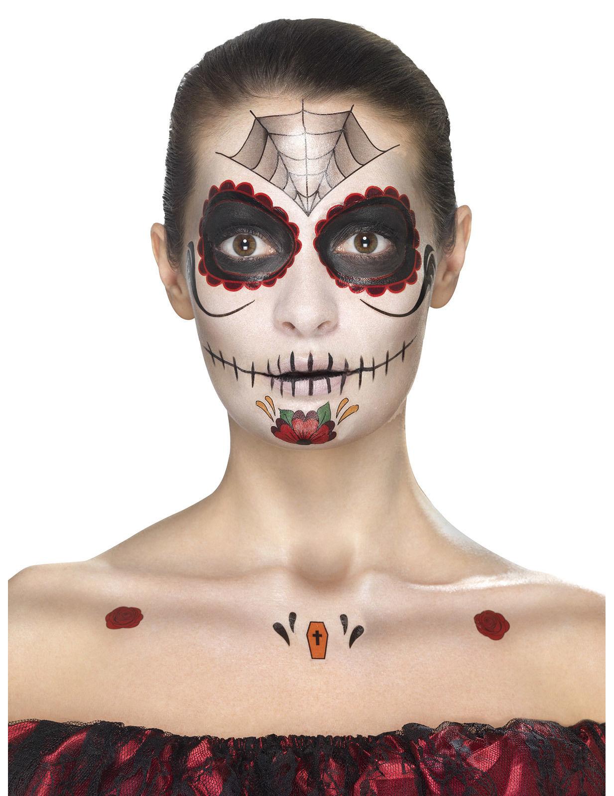 tag der toten make up tattoo set schwarz rot weiss g nstige faschings make up bei karneval. Black Bedroom Furniture Sets. Home Design Ideas