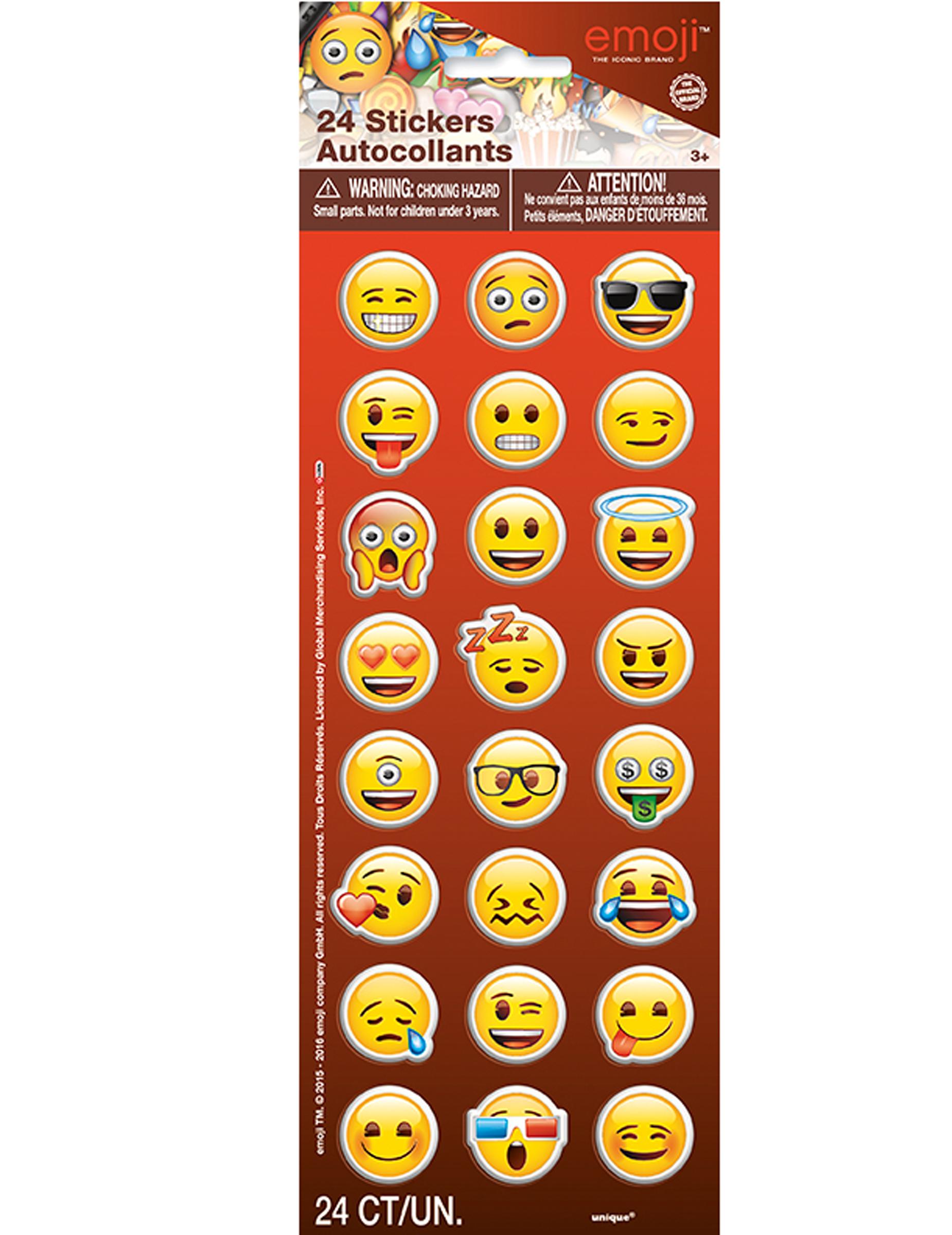24 selbstklebende Sticker Emoji bunt