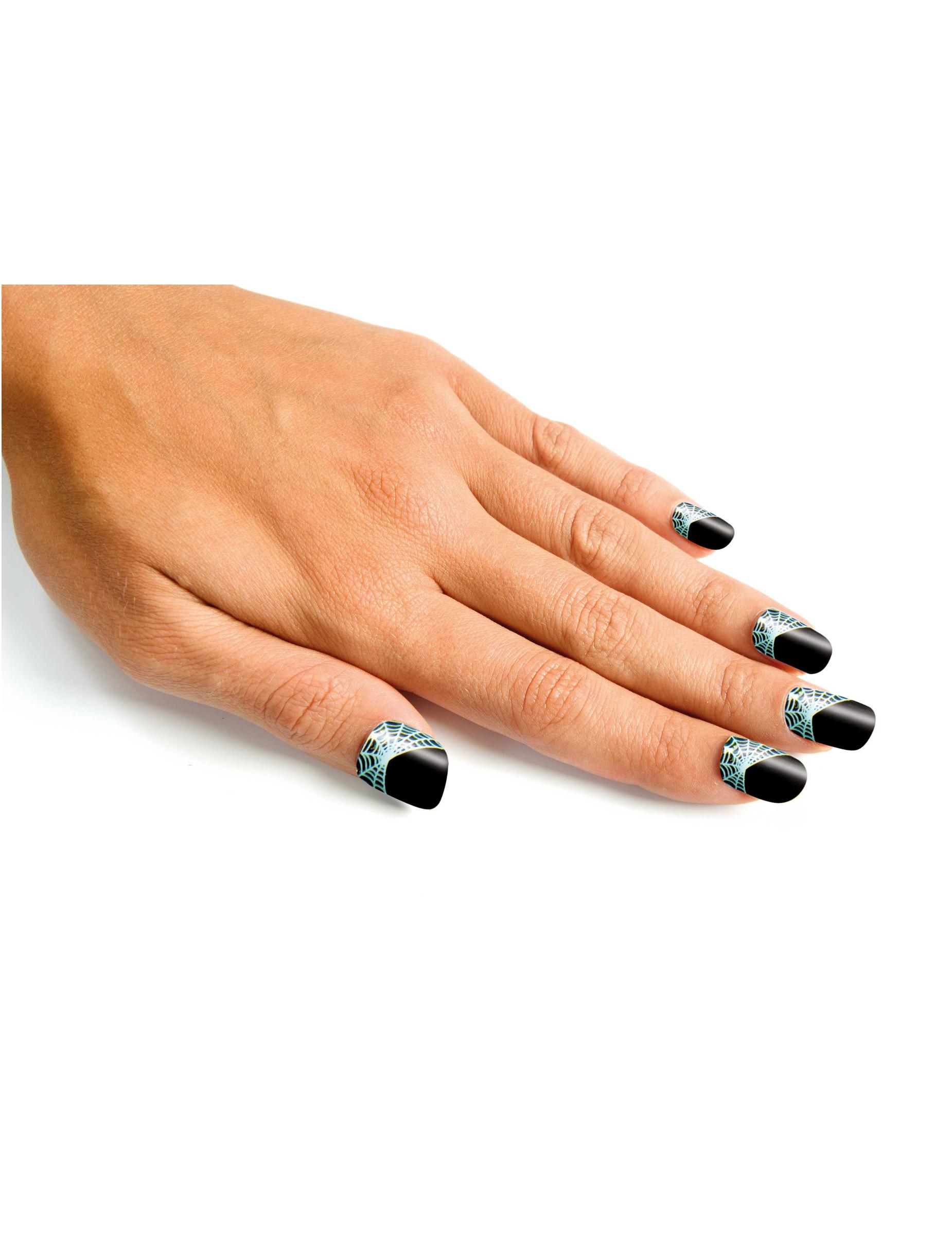 Spinnennetz-Nägel Hexen-Fingernägel 24 Stück schwarz , günstige ...