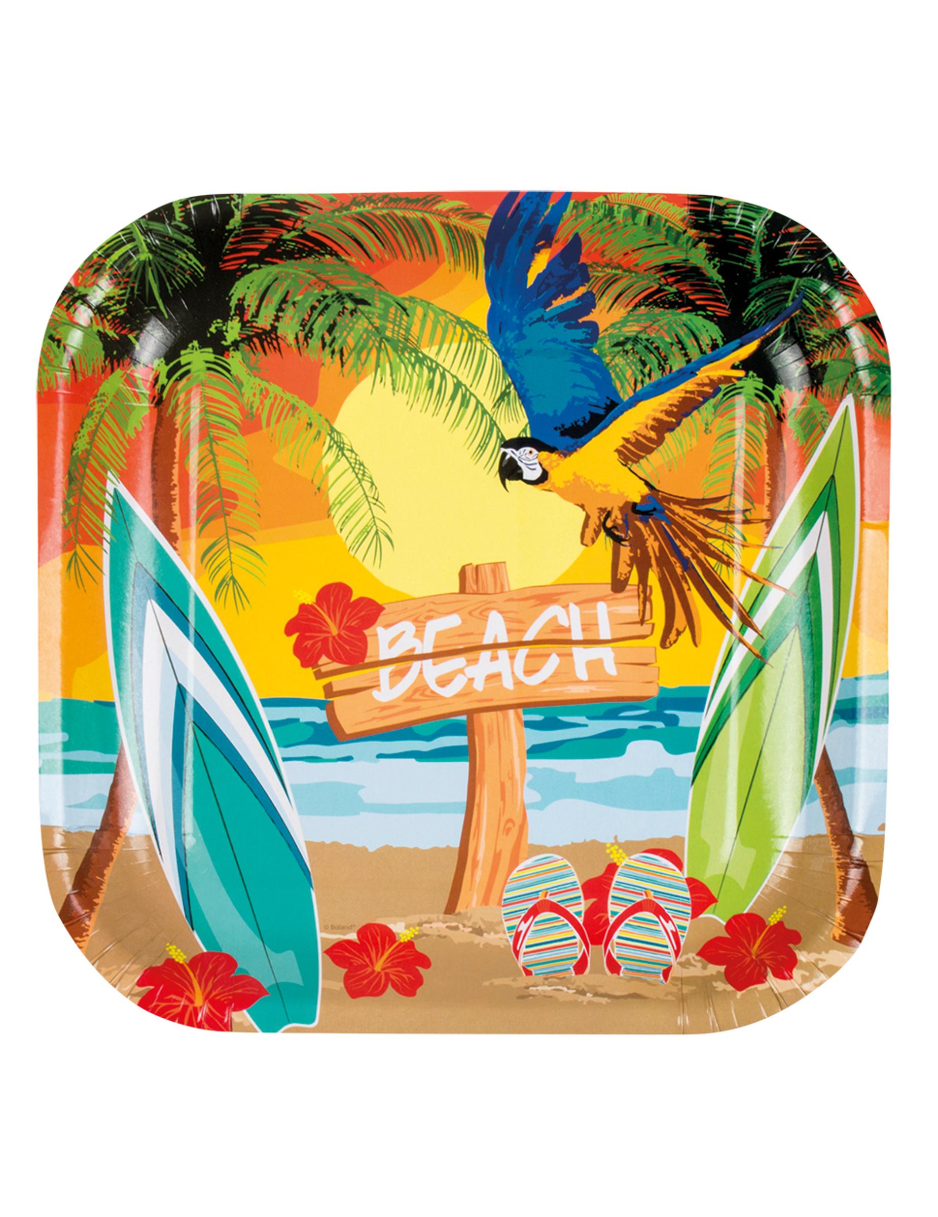 karibik servierplatten hawaiiparty deko 6 st ck bunt 23x23cm g nstige faschings partydeko. Black Bedroom Furniture Sets. Home Design Ideas