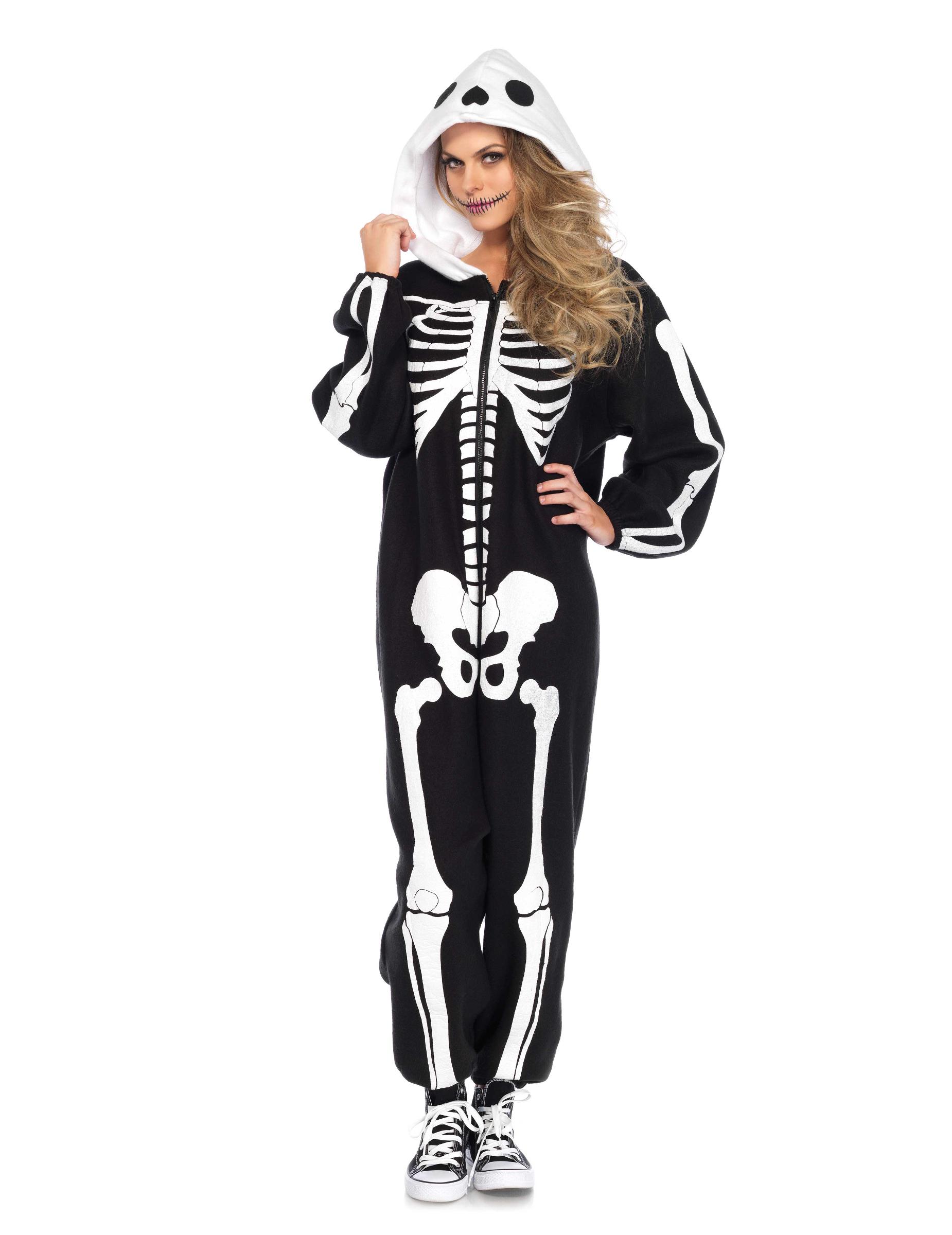 1c078720821a5 Schauriger Skelett Einteiler Halloween-Kostüm schwarz-weiss
