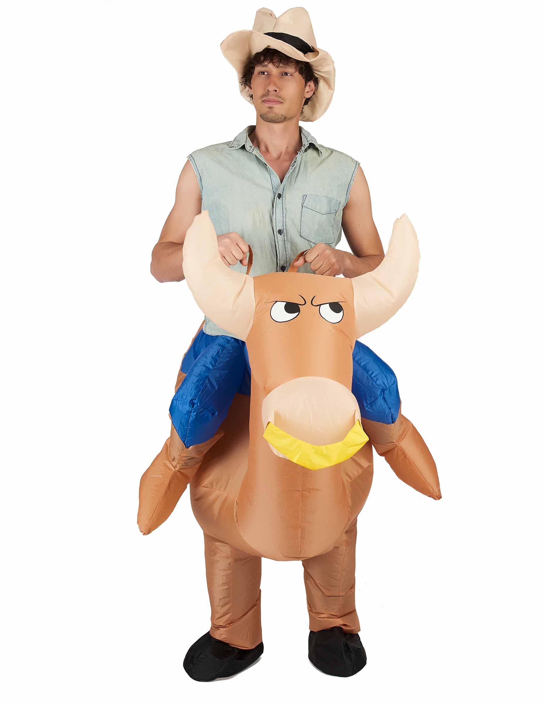 aufblasbares carry me kost m rodeo reiter braun blau g nstige faschings kost me bei karneval. Black Bedroom Furniture Sets. Home Design Ideas