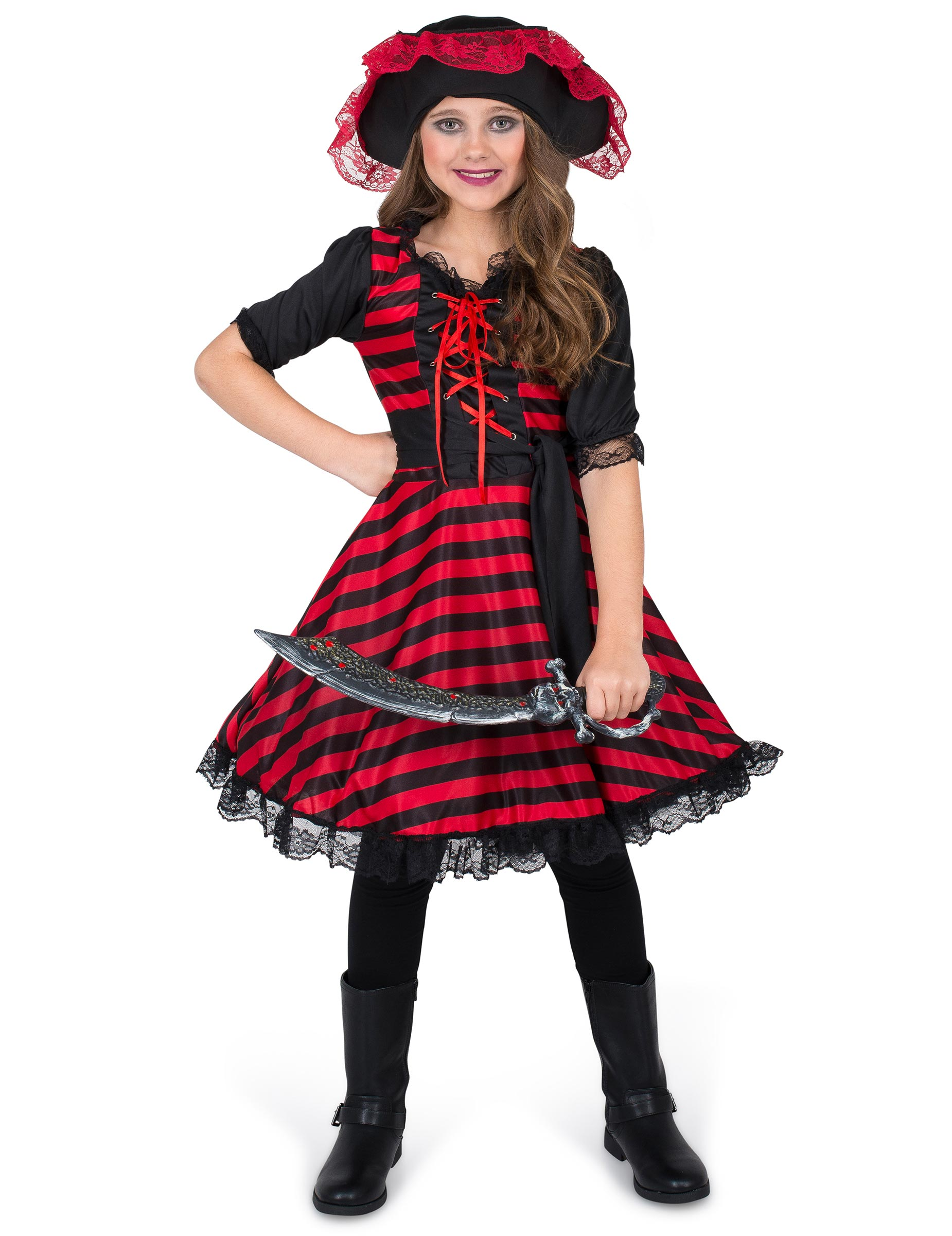 elegante piratin kinderkost m f r m dchen rot schwarz g nstige faschings kost me bei karneval. Black Bedroom Furniture Sets. Home Design Ideas