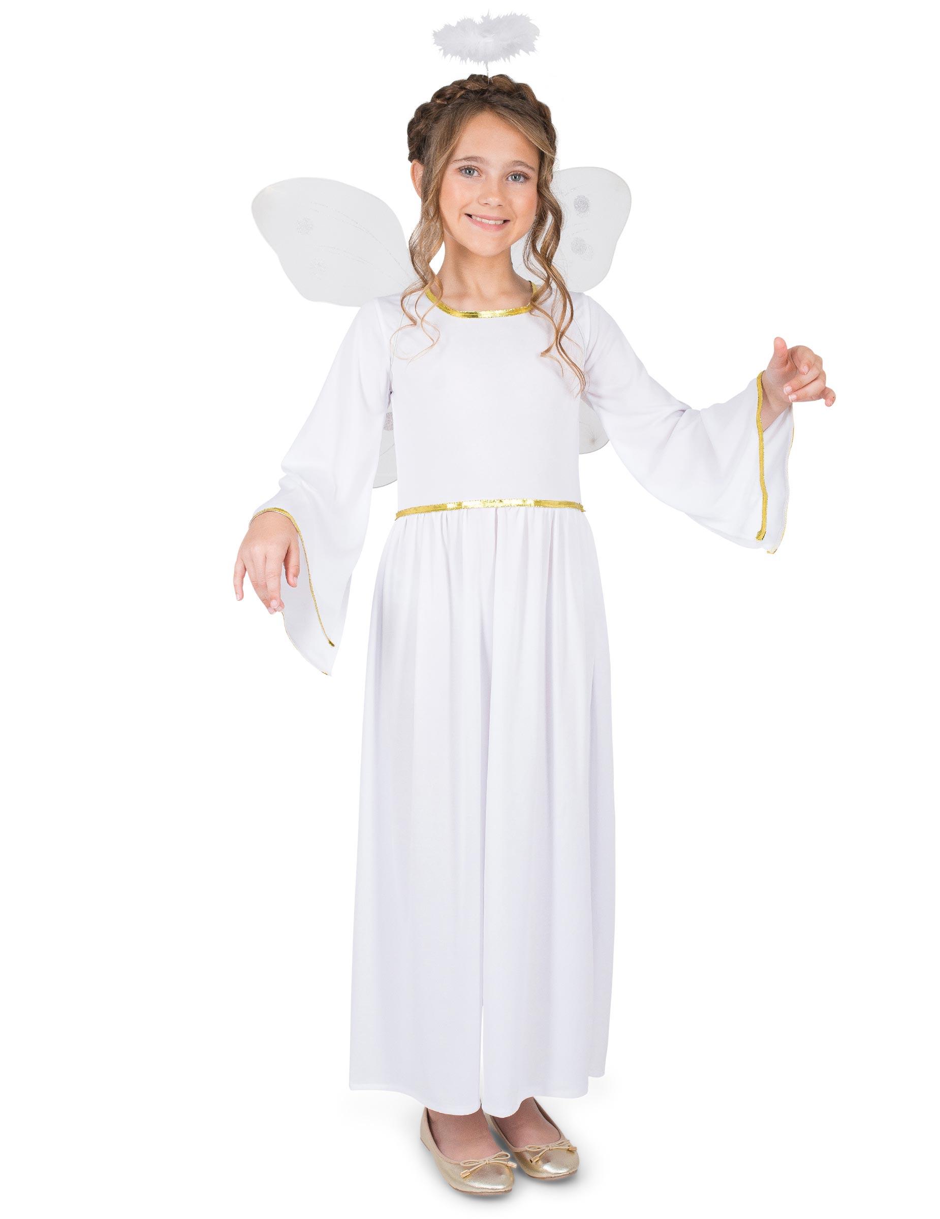 Engel Madchenkostum Engelchen Verkleidung Weiss Gold Gunstige