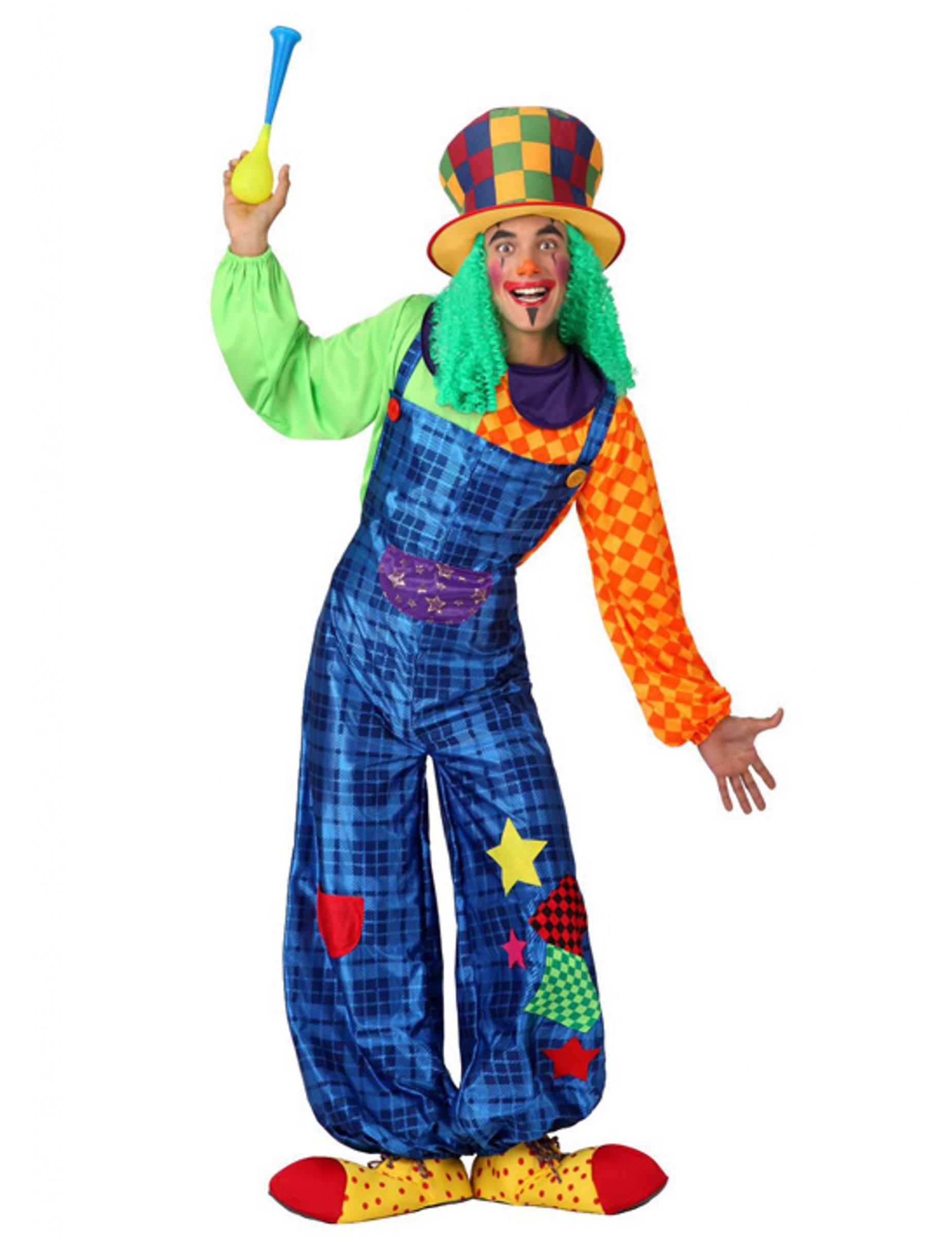 Clown Kostum Mit Patchwork Fur Erwachsene Blau Gunstige Faschings