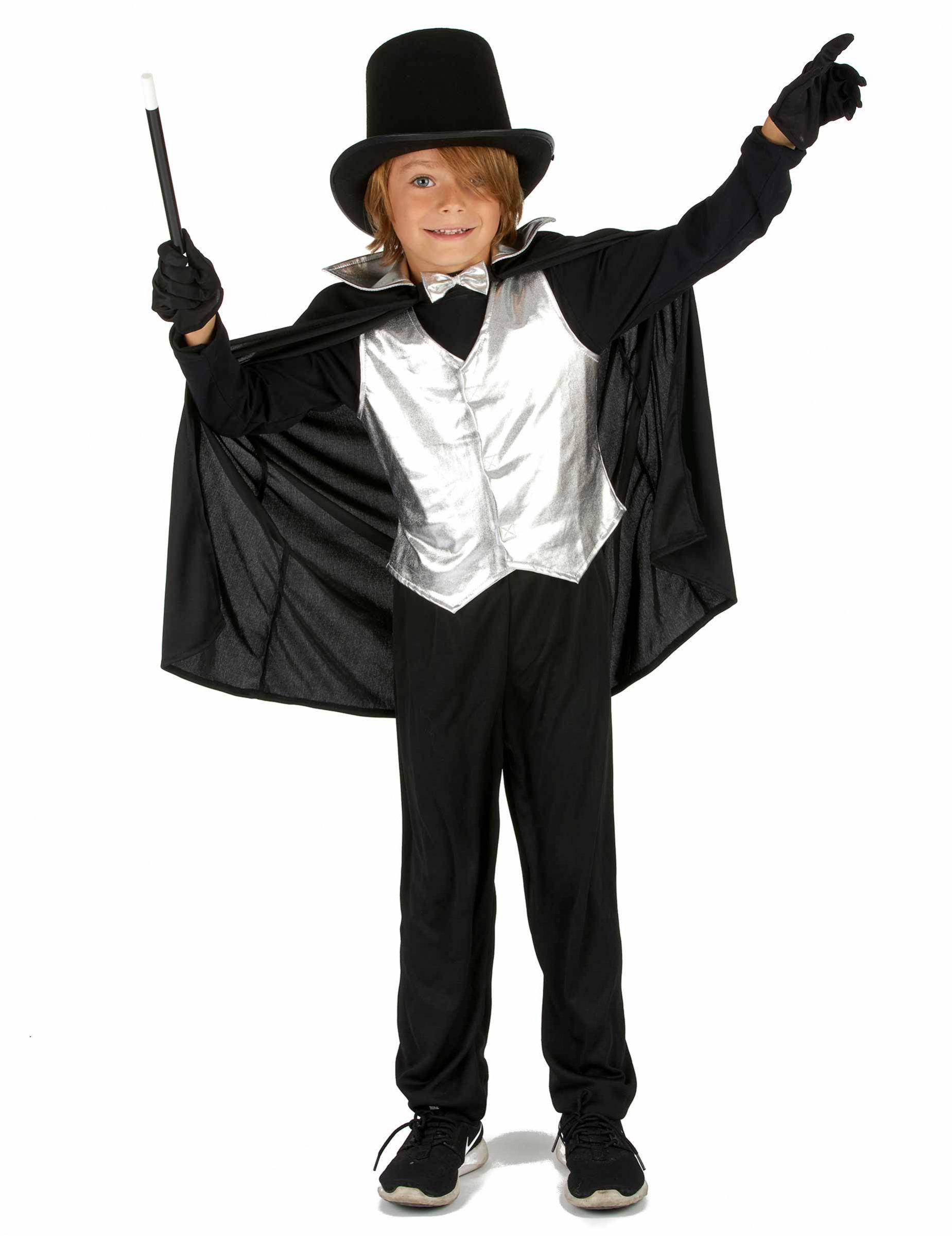 Kleiner Zauberer Magier Kinderkostum Fur Jungen Schwarz Silber