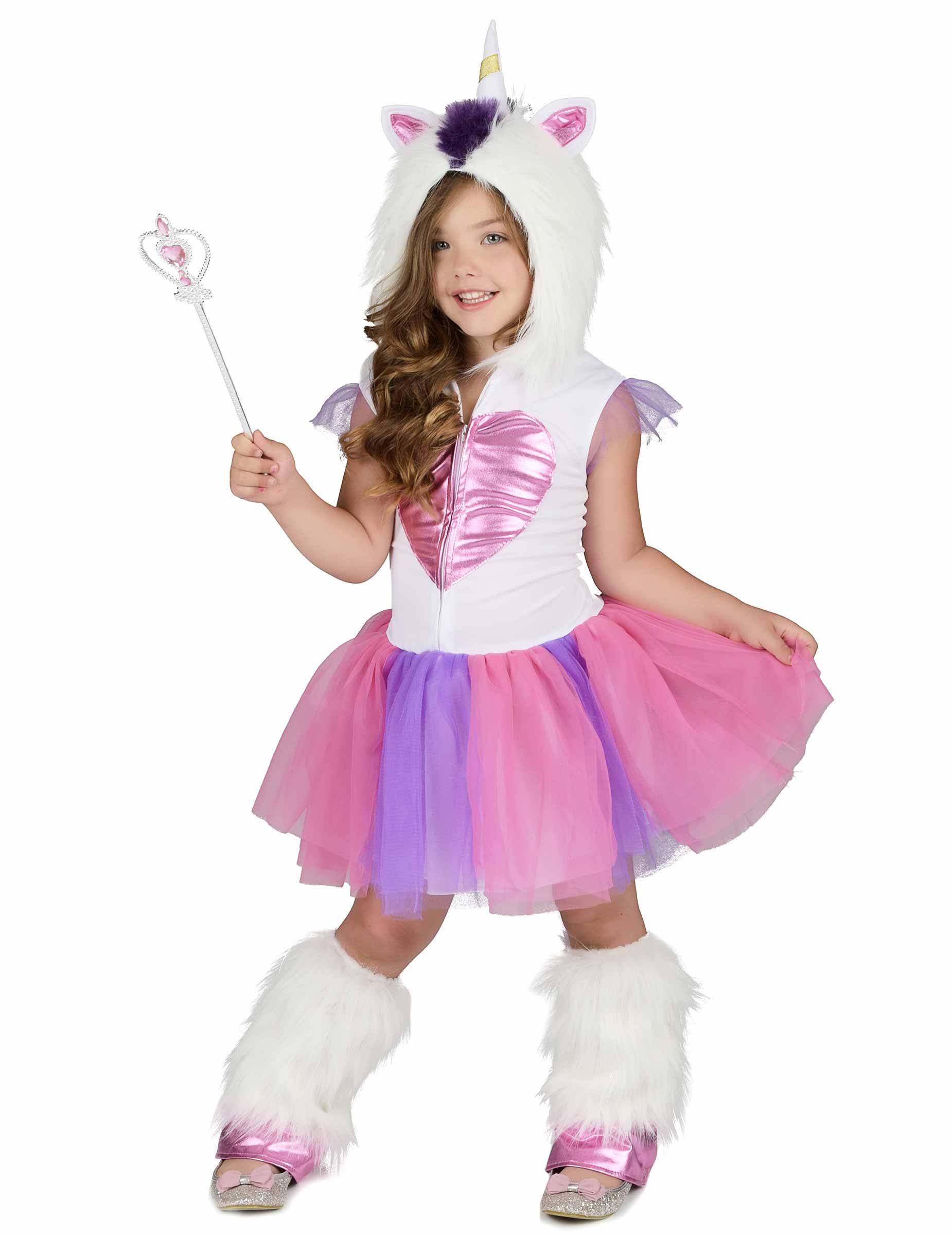 Susse Einhorn Prinzessin Kinderkostum Fur Madchen Weiss Pink Violett