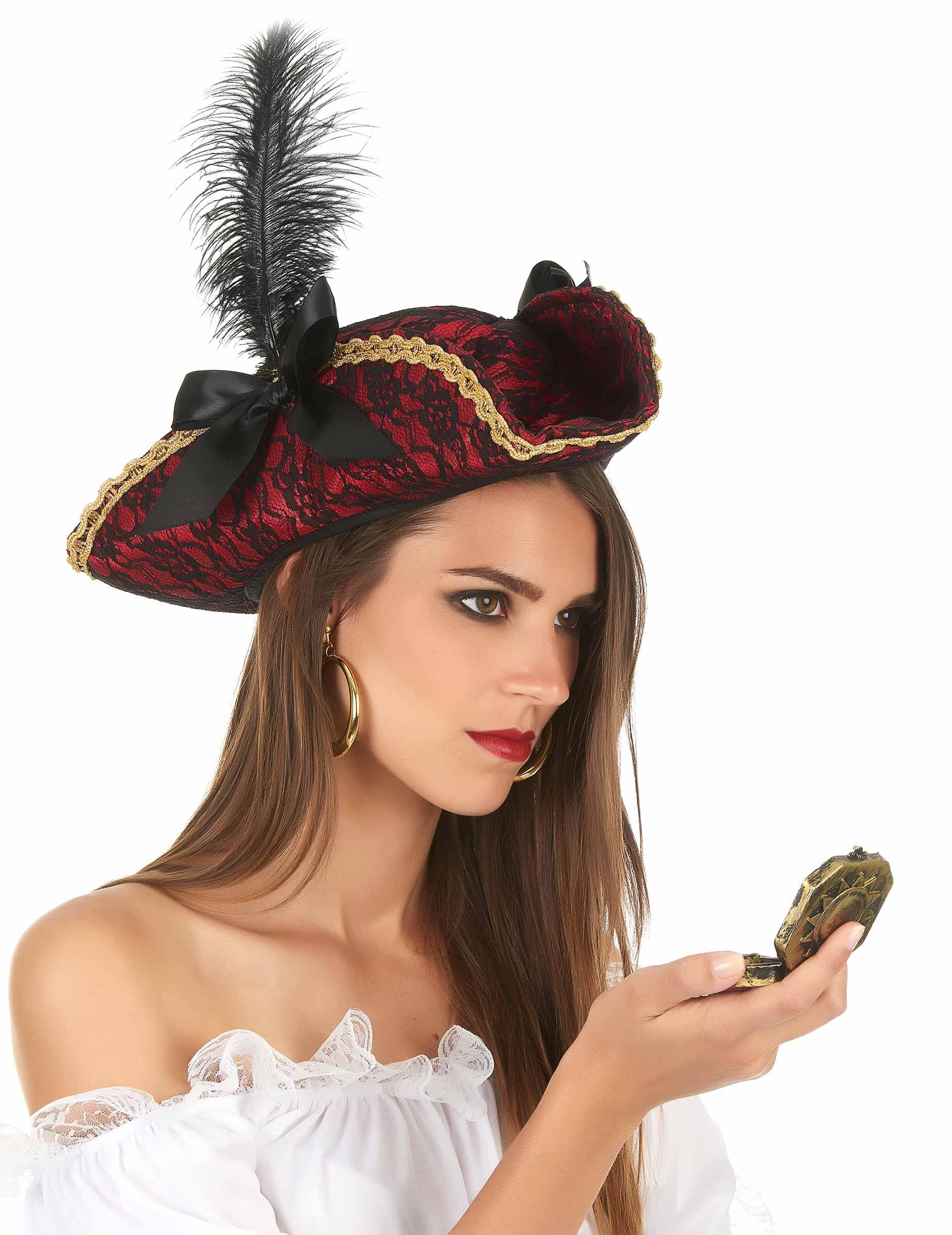 Piratin Hut Dreispitz Mit Spitze Und Feder Kostum Accessoire Rot