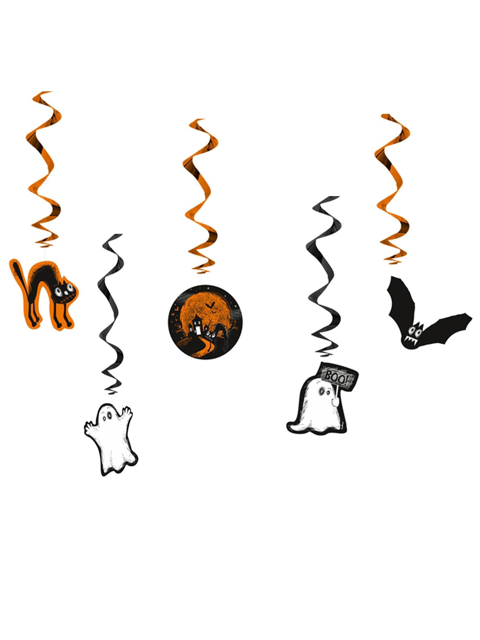 Halloweenspiralen Kinderhalloween Deko 5 Stuck Orange Schwarz Weiss