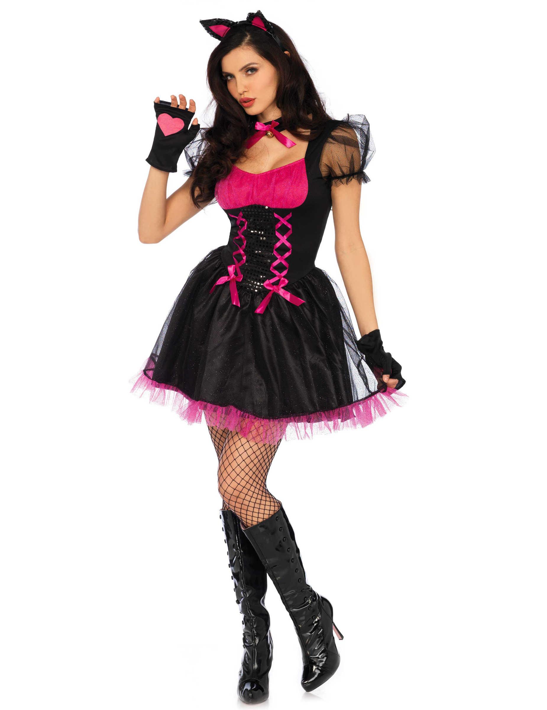 sexy katzen kost m f r damen schwarz rosa g nstige faschings kost me bei karneval megastore. Black Bedroom Furniture Sets. Home Design Ideas