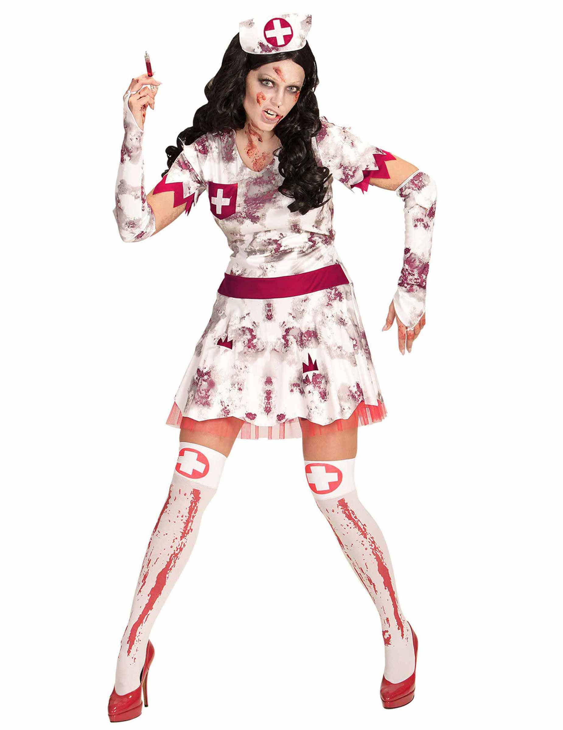 Zombifizierte Krankenschwester Halloweenkostum Fur Damen Weiss Rot