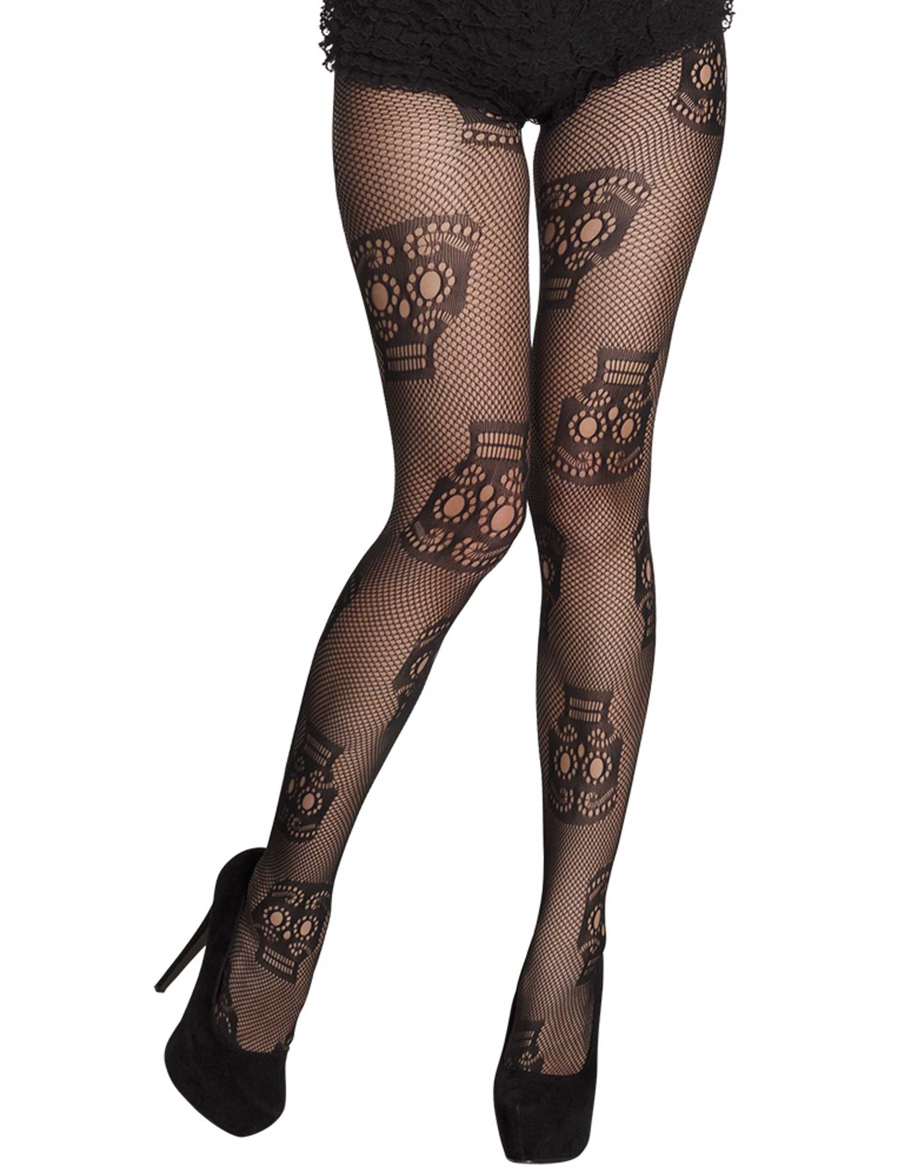 sugar skull strumpfhose netzstrumpfhose tag der toten schwarz g nstige faschings accessoires. Black Bedroom Furniture Sets. Home Design Ideas